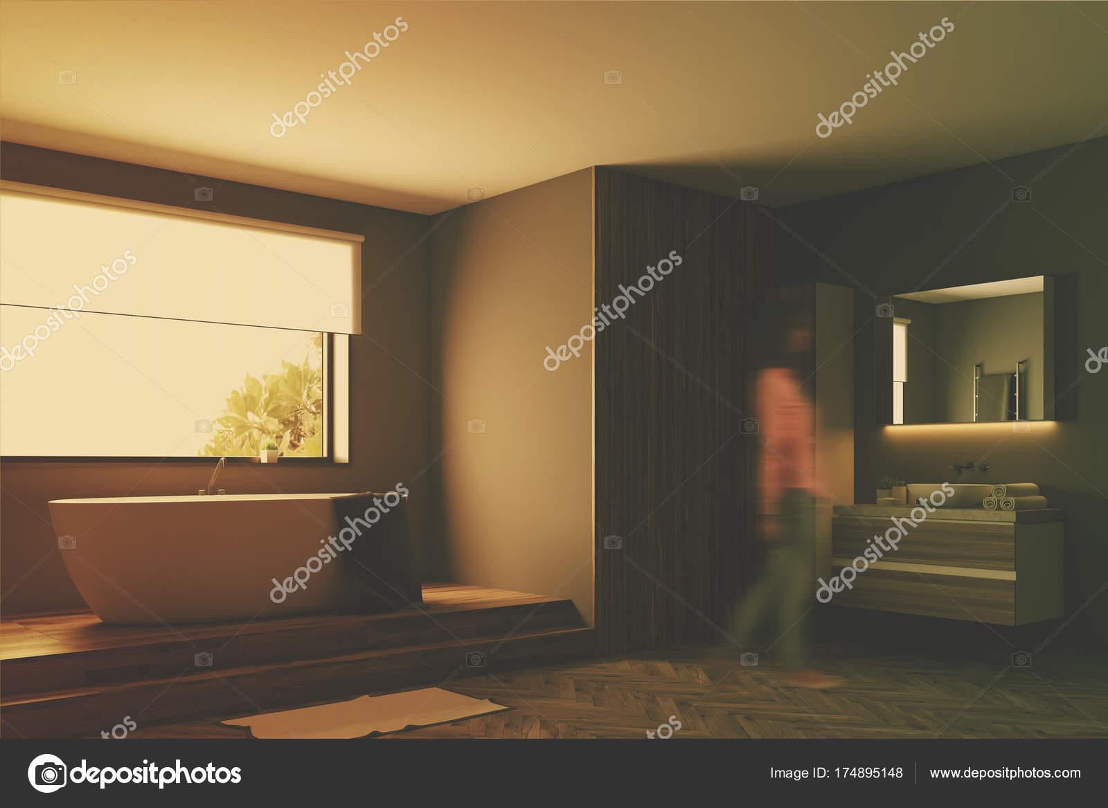 Moderne grijze badkamer kant toned u stockfoto denisismagilov