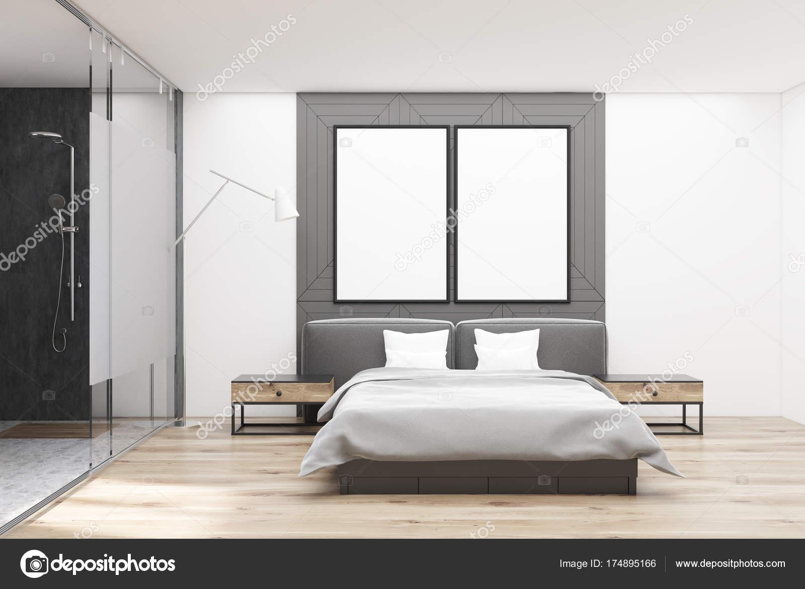Wzór W Biało Szara Sypialnia Plakaty Zdjęcie Stockowe