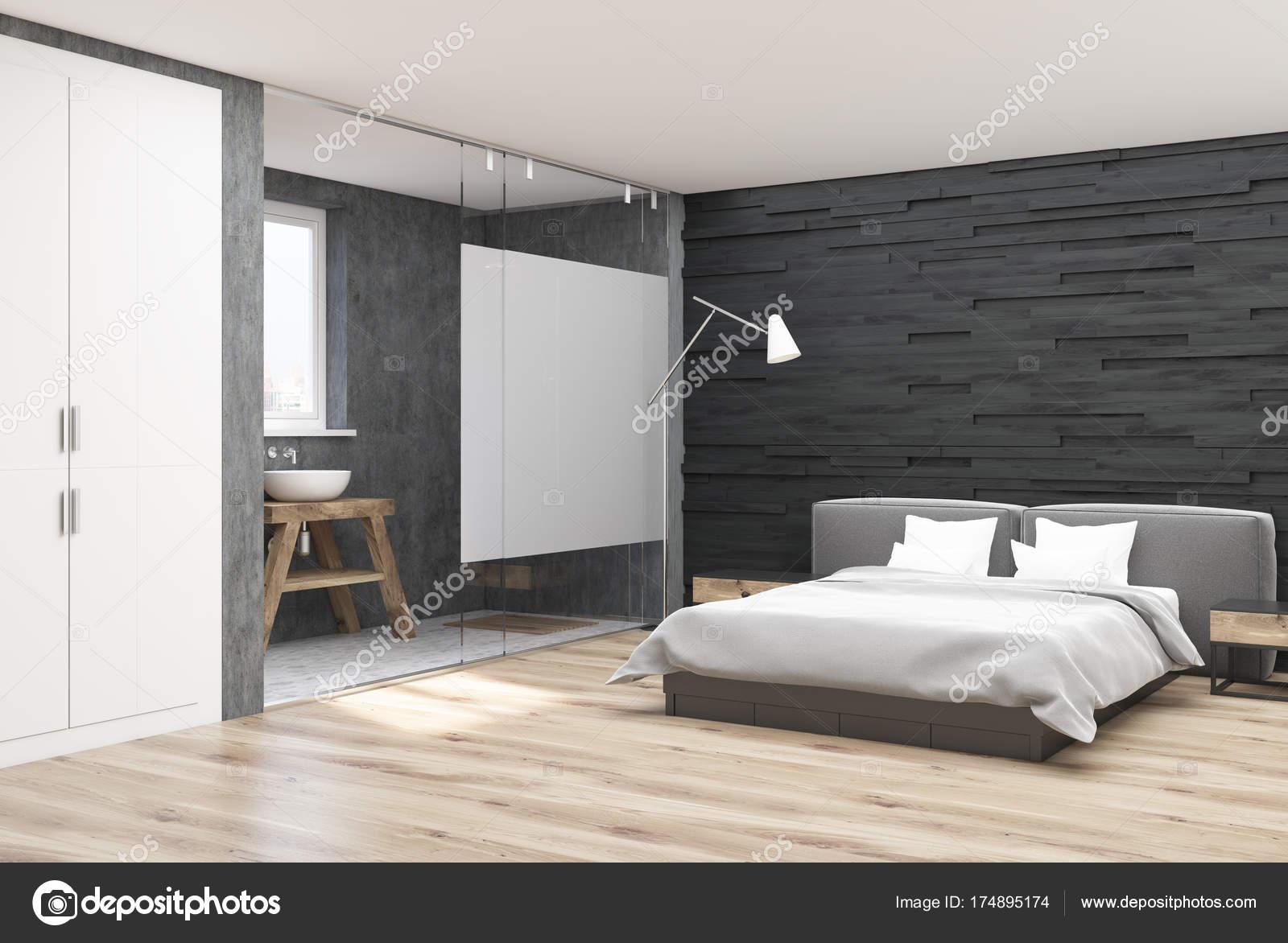 Camera da letto e bagno di servizio in legno grigio u foto stock