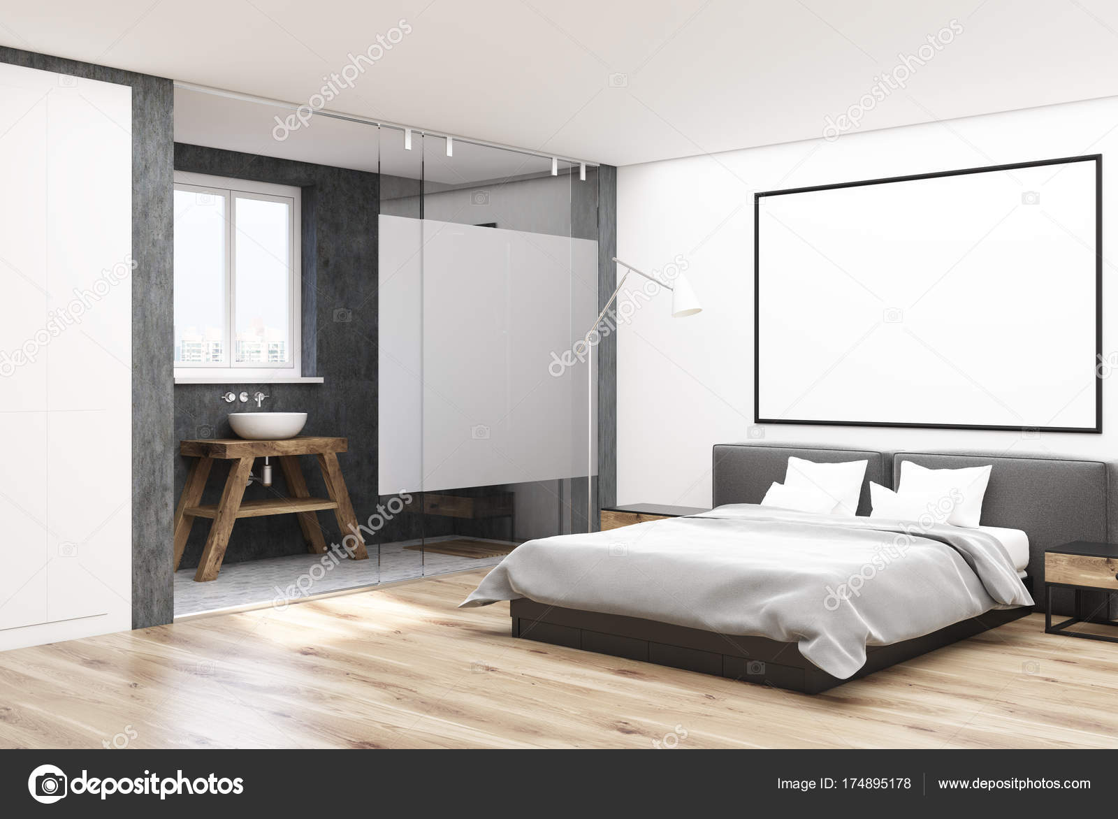 3d Fußboden Schlafzimmer ~ Weiße schlafzimmer ecke mit einem plakat u stockfoto