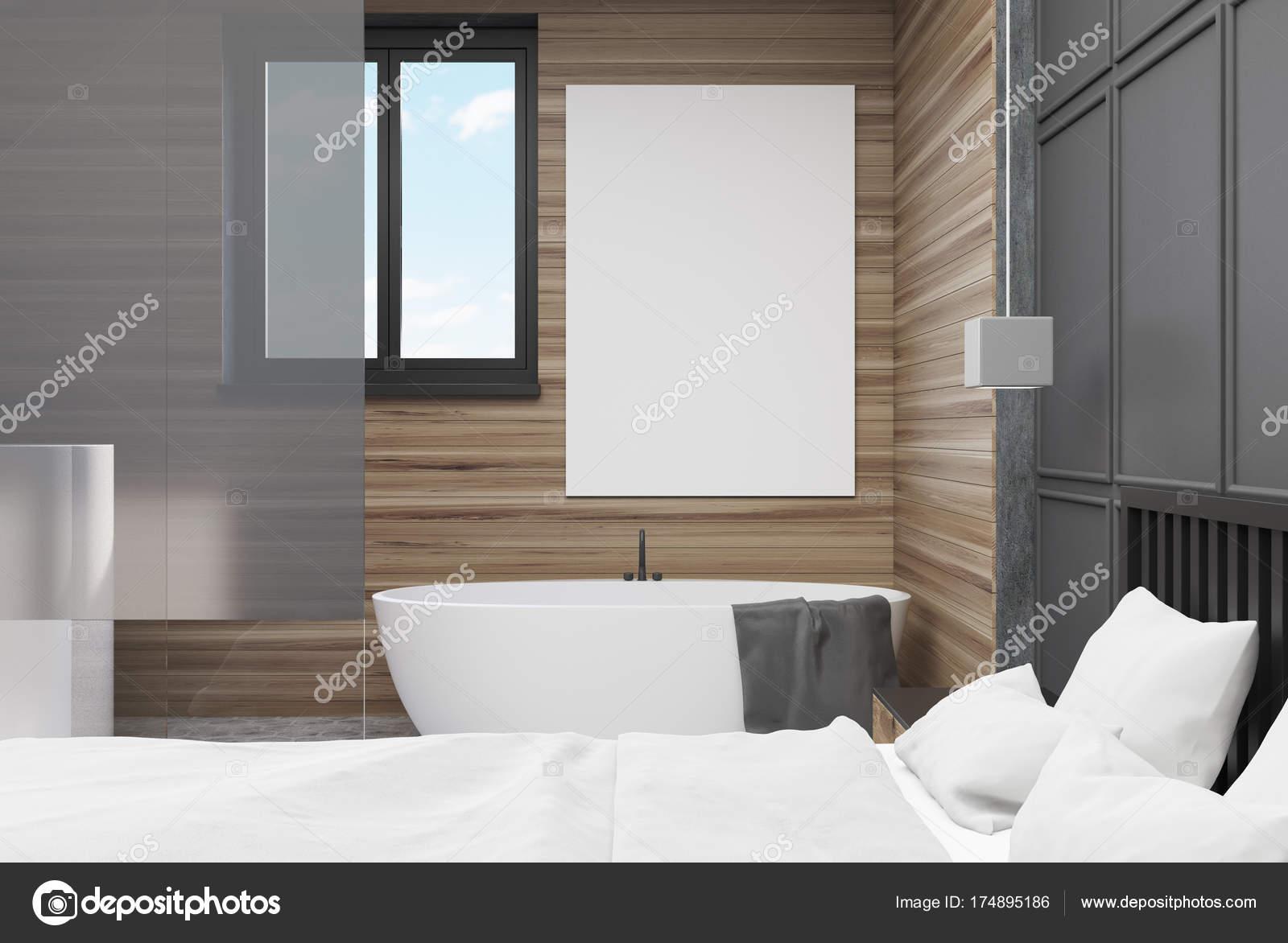 Seite Grau Und Holz Schlafzimmer, Badezimmer, Poster U2014 Stockfoto