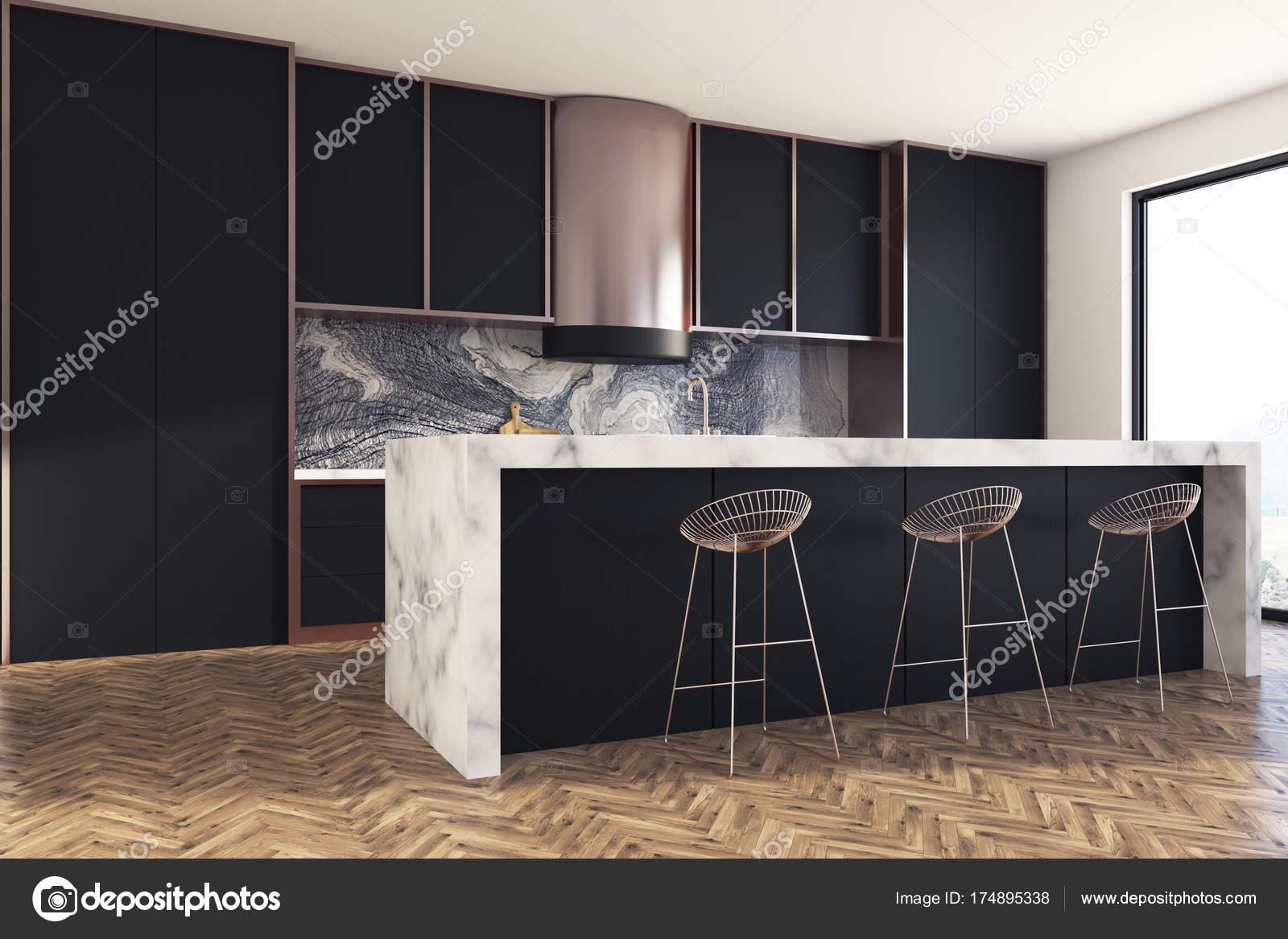 Marmer Zwart Keuken : Zwart en marmeren keuken bar kant u2014 stockfoto © denisismagilov