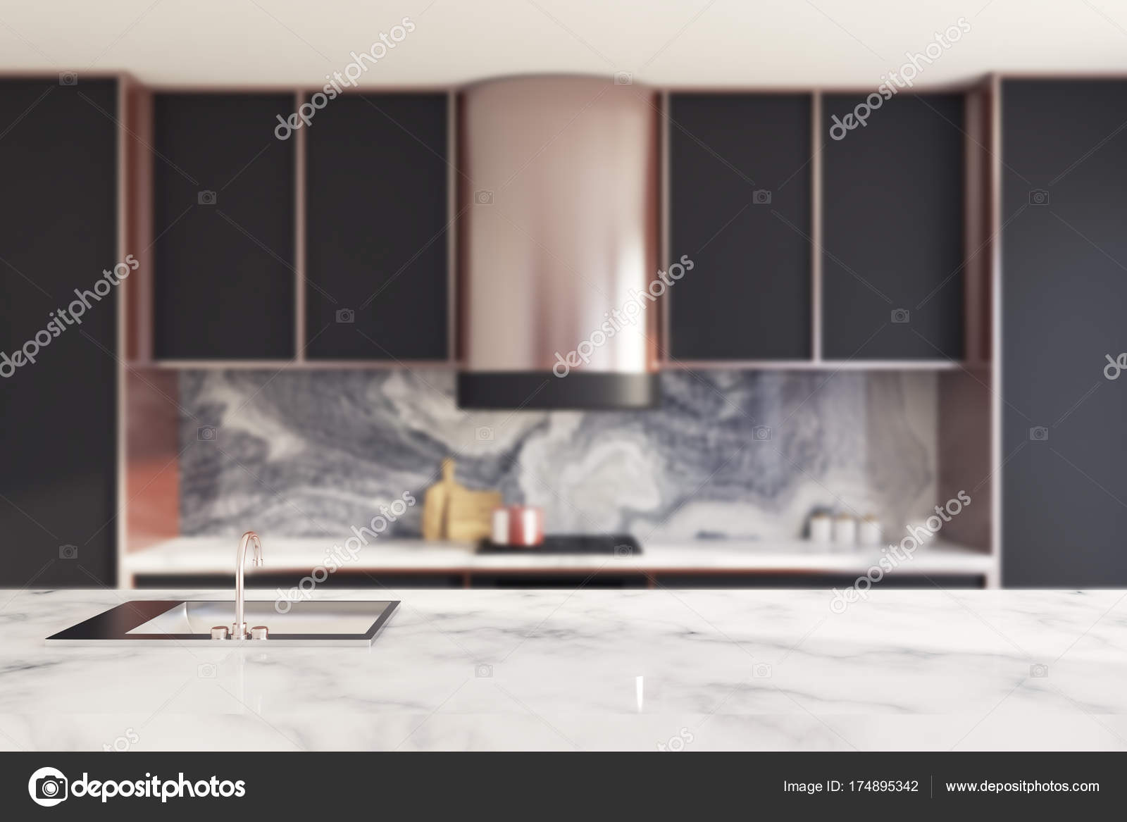 Schwarz Und Marmor Kuchenarbeitsplatte Verwischen Stockfoto