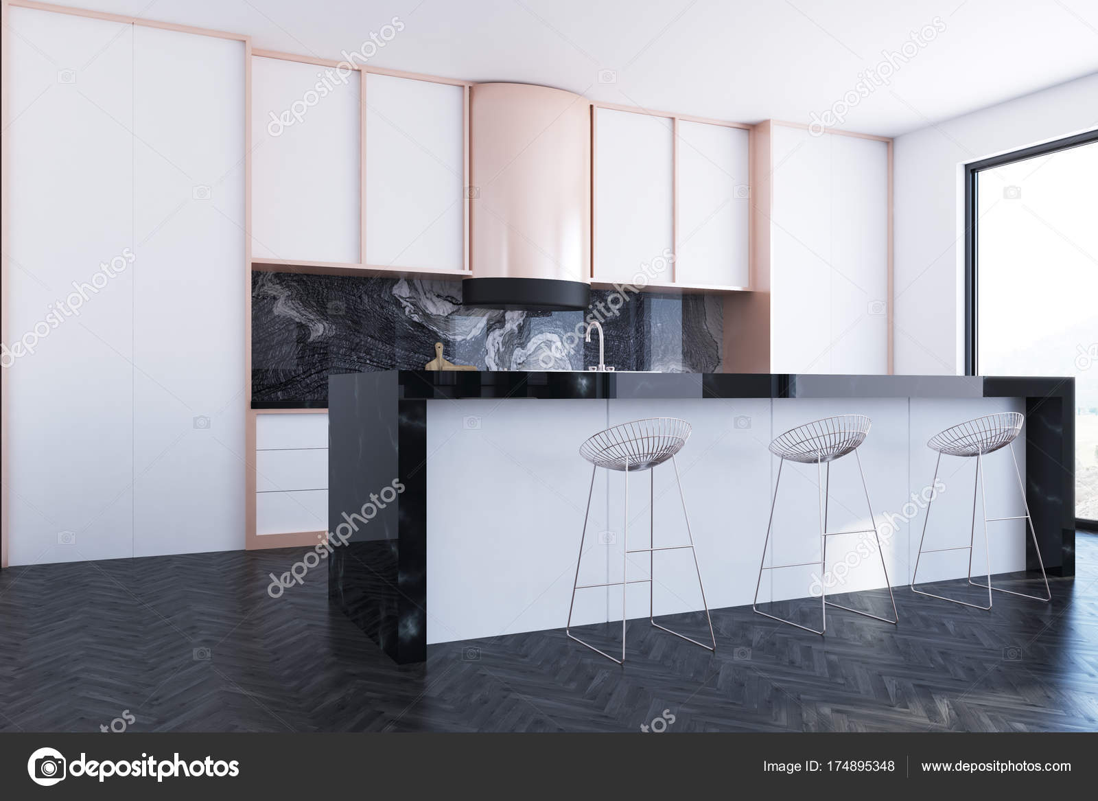 Keuken Bar Design : Wit en marmeren keuken bar kant u2014 stockfoto © denisismagilov #174895348