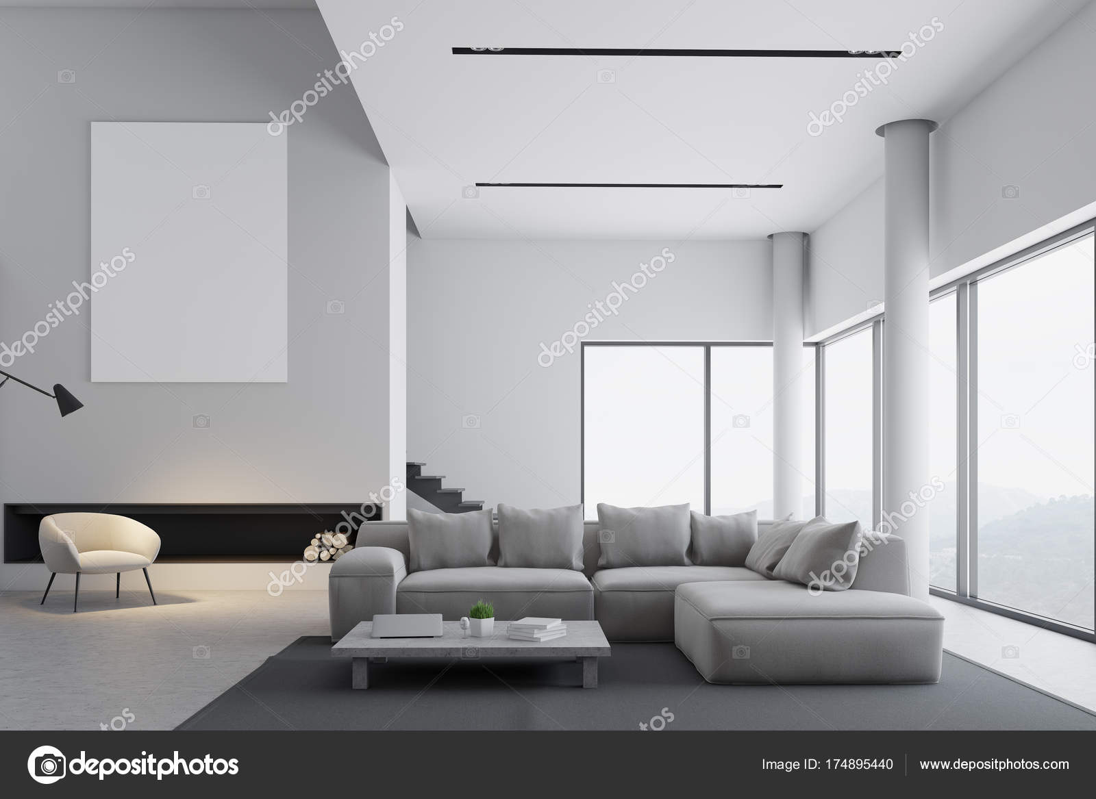 Side view of modern interior with poster stock illustration