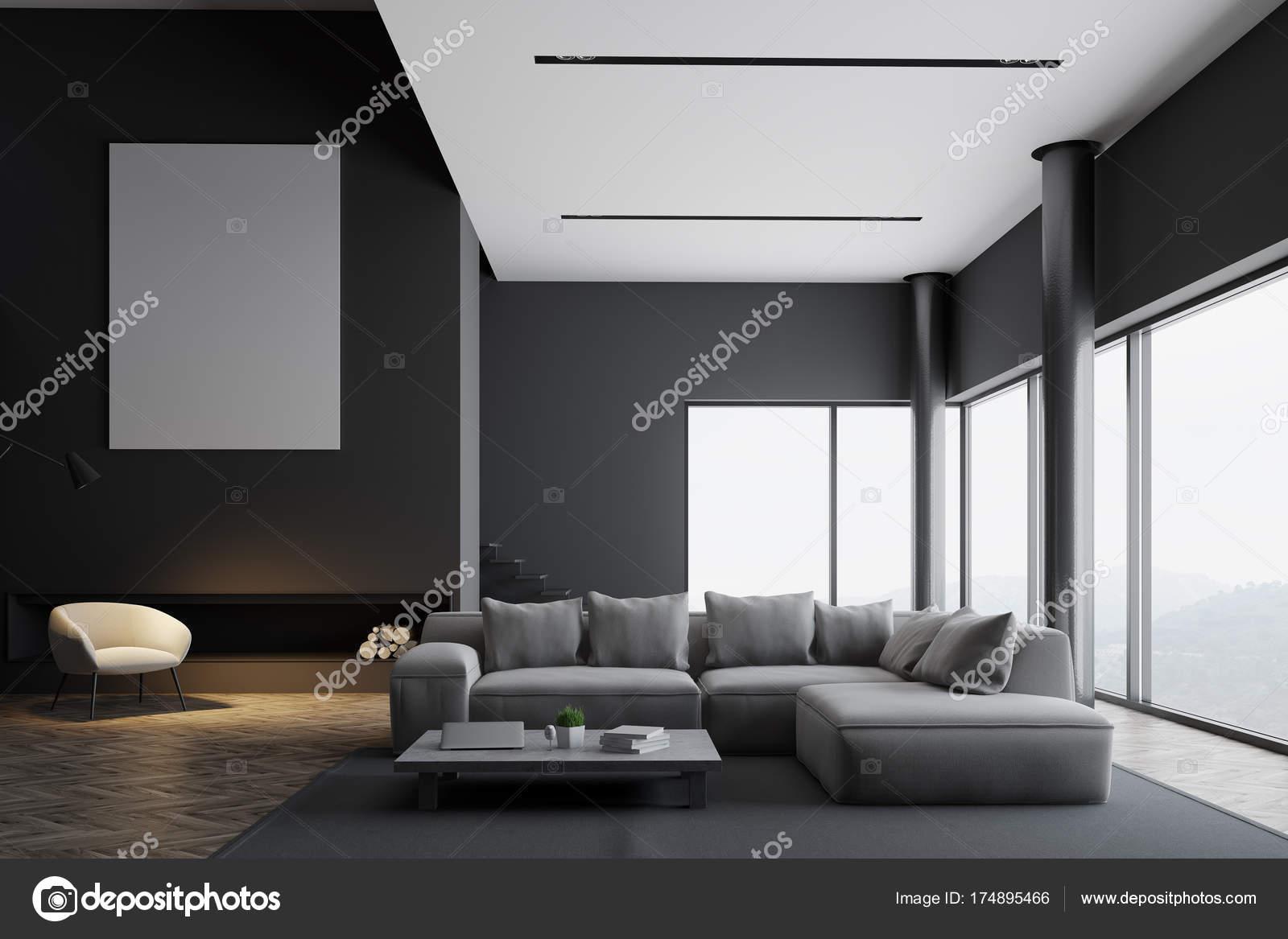 Modernes grau wohnzimmer interieur plakat u stockfoto