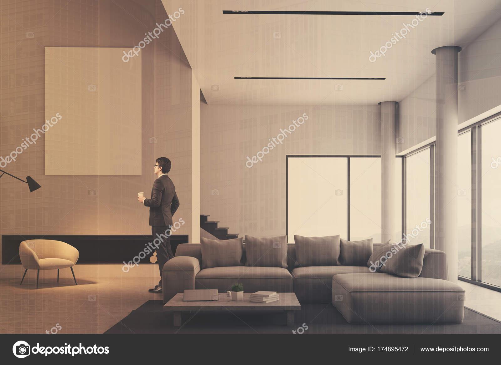 Minimalistisch wohnzimmer interieur plakat doppel u2014 stockfoto