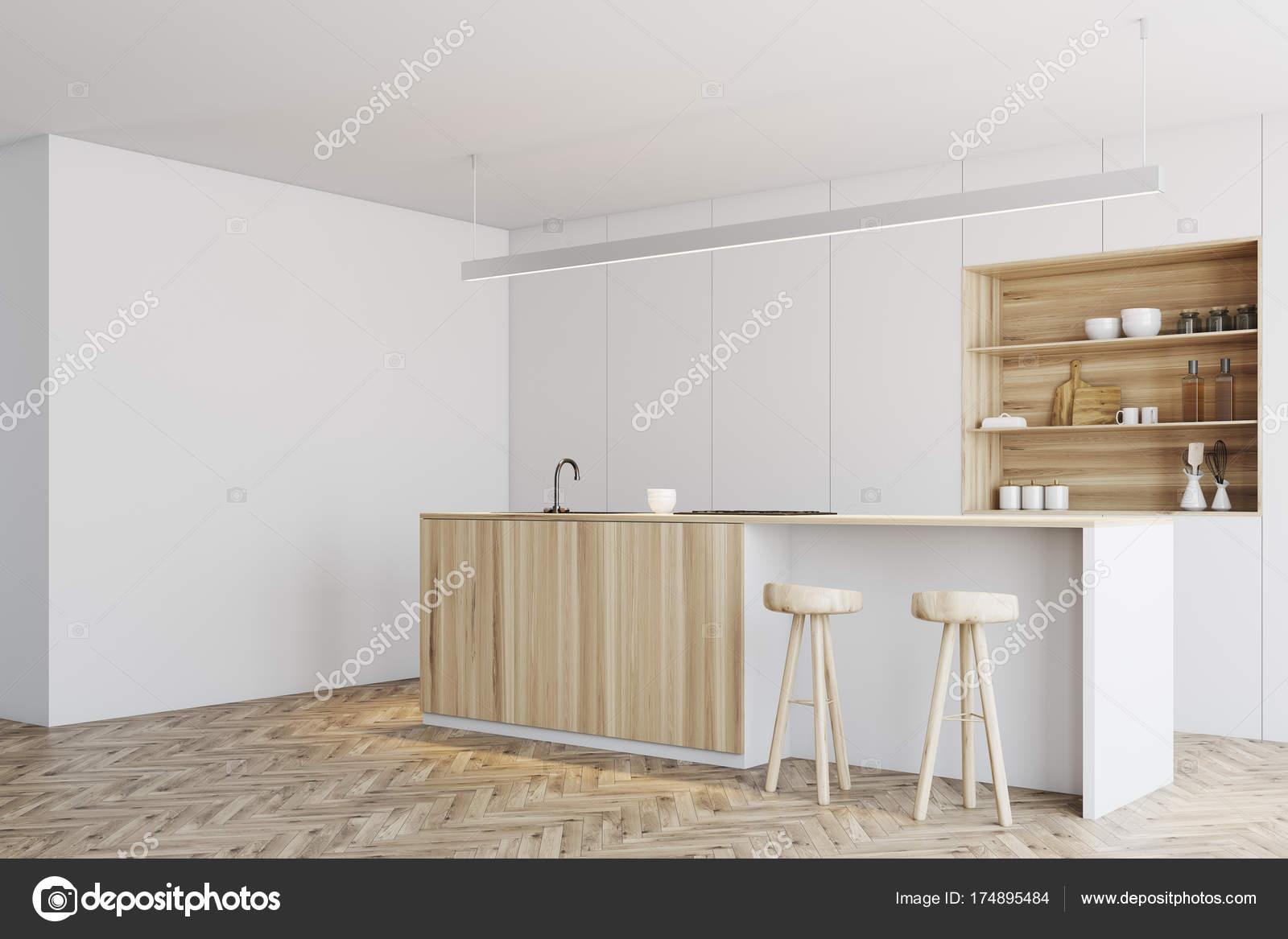 Cucina bianca, bar angolo stand in legno — Foto Stock ...