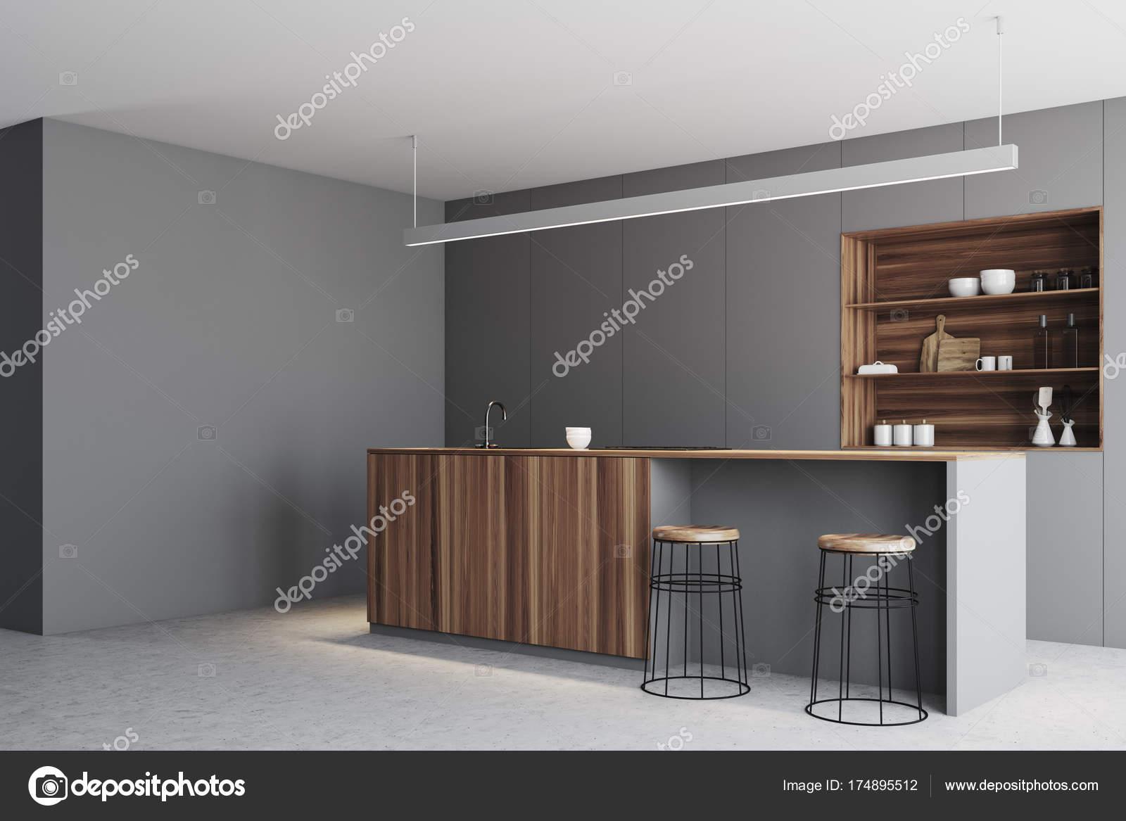 Cocina gris, barra soporte de esquina de madera — Fotos de Stock ...