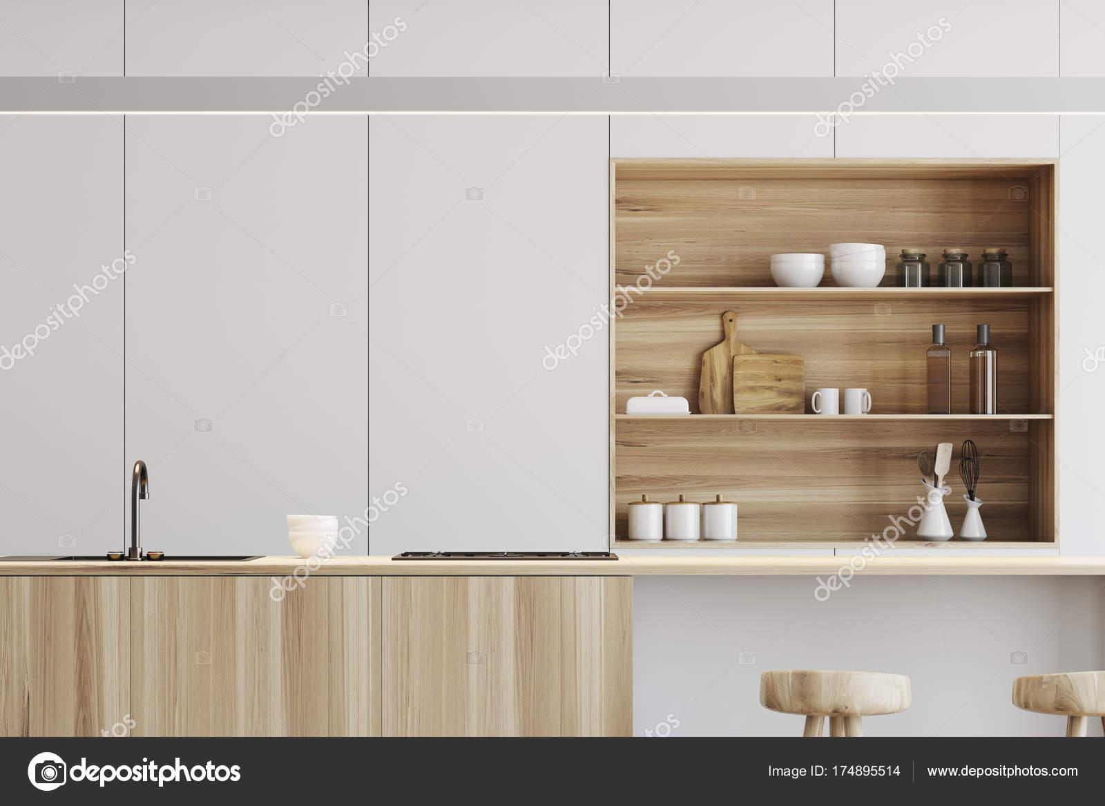 Keuken Houten Bar : Witte keuken houten bar staan close up u2014 stockfoto © denisismagilov