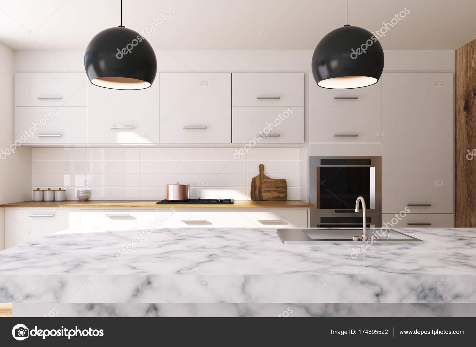 Biała Kuchnia Blat Marmurowy Zdjęcie Stockowe