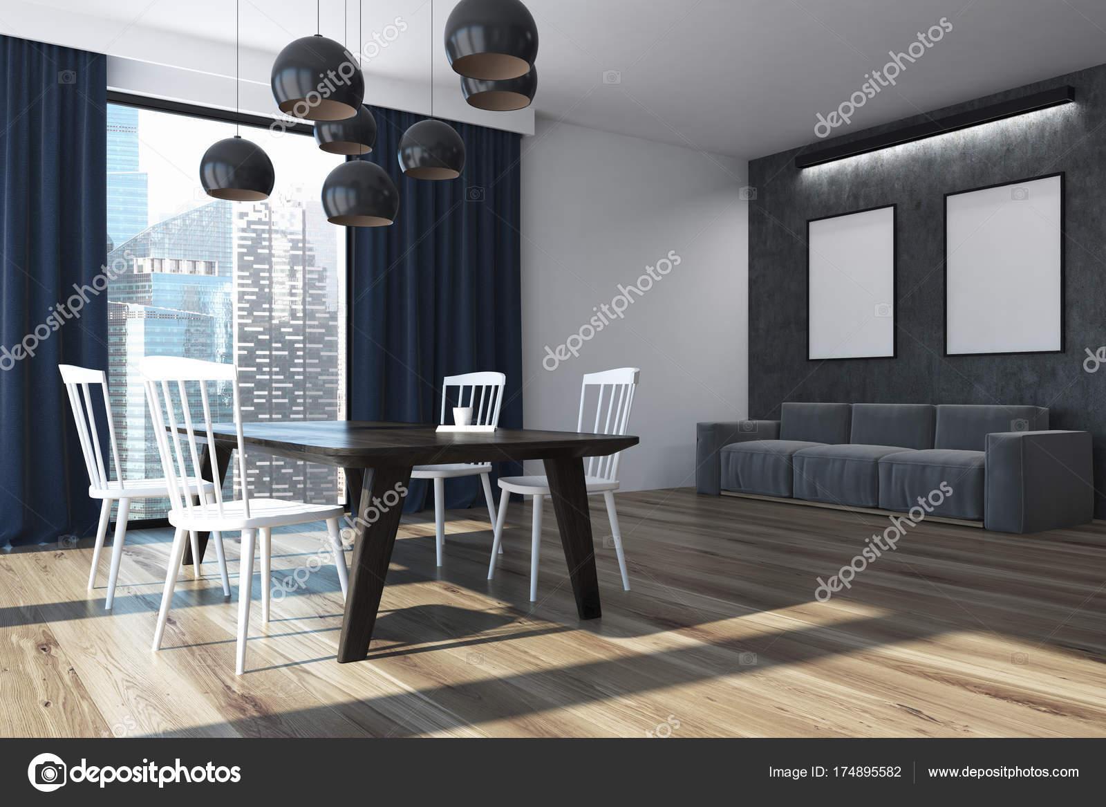 Angolo sala da pranzo tende blu, poster — Foto Stock ...