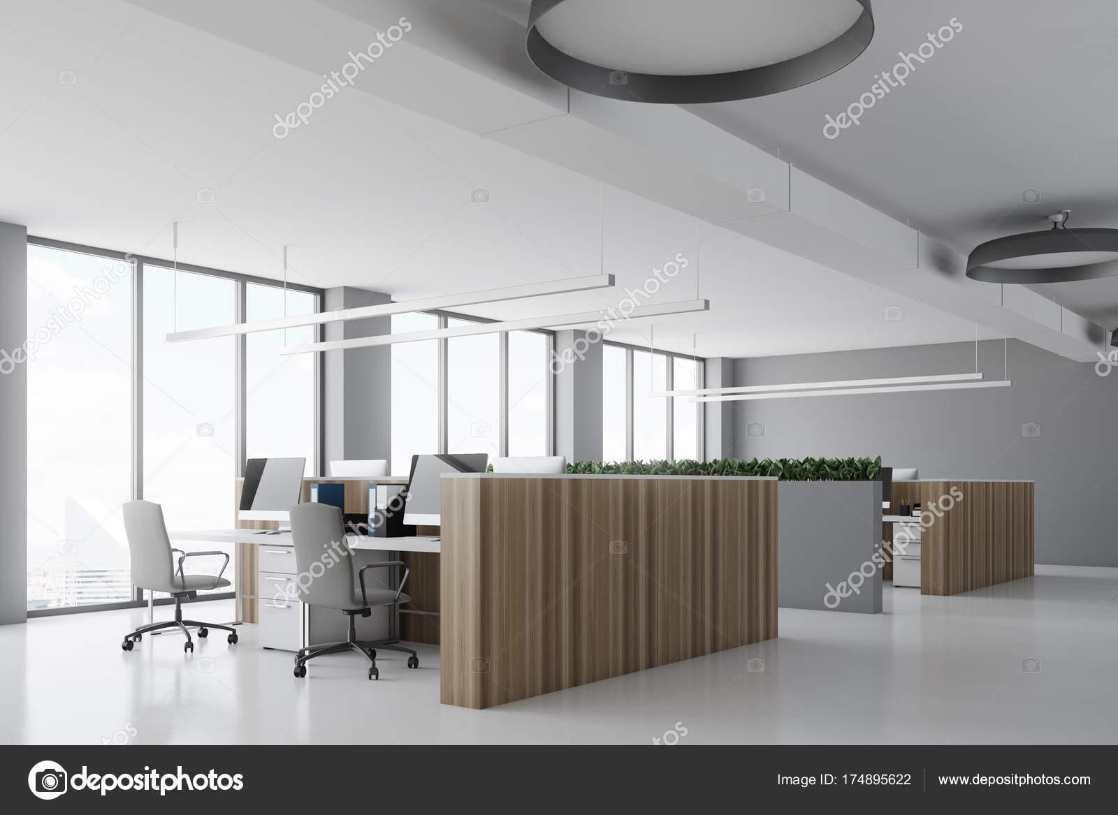 Béton de pupitres en bois coin bureau blanc u photographie