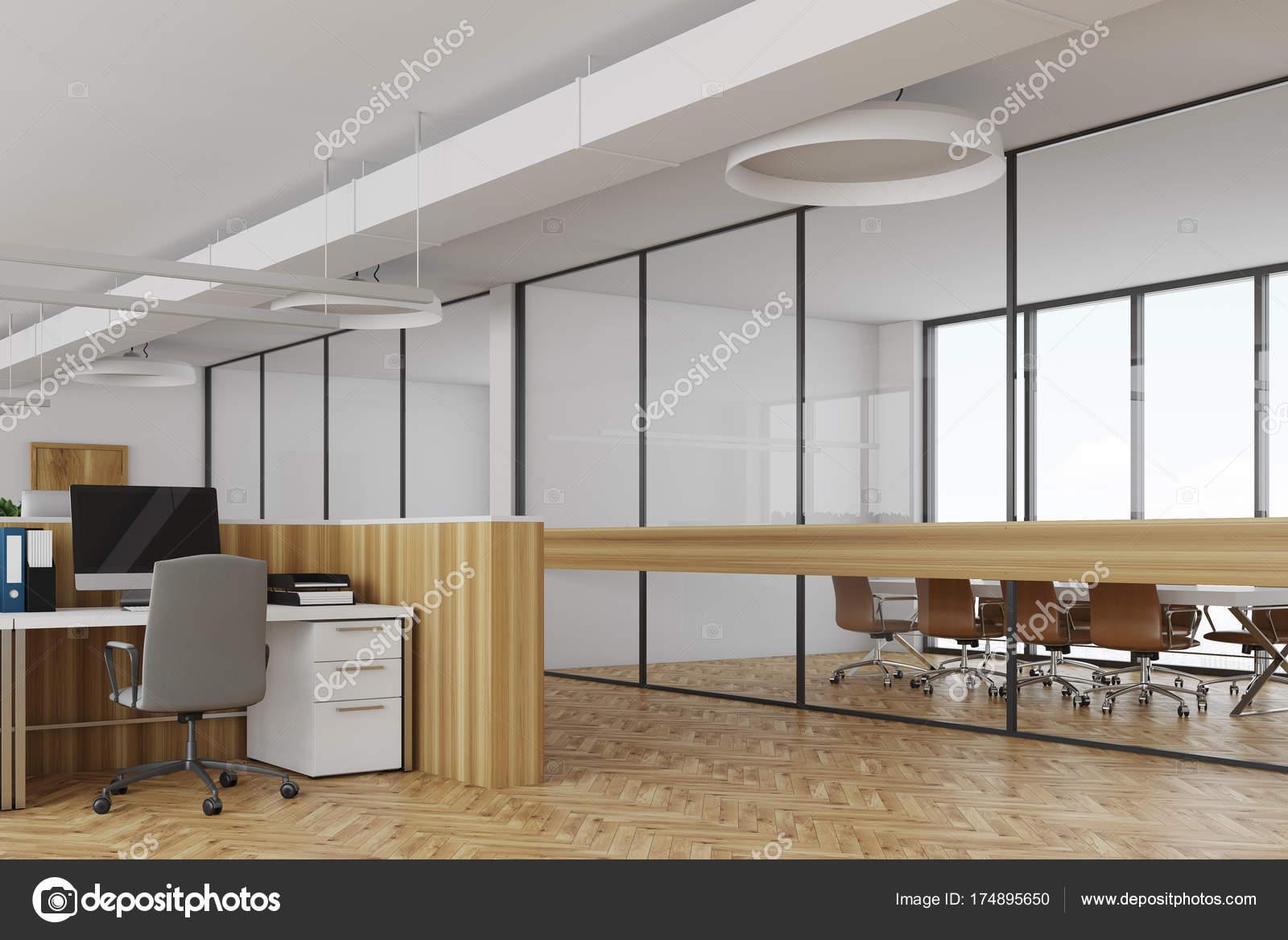 Ufficio Bianco E Legno : Bianco scrivanie angolo in legno u foto stock denisismagilov