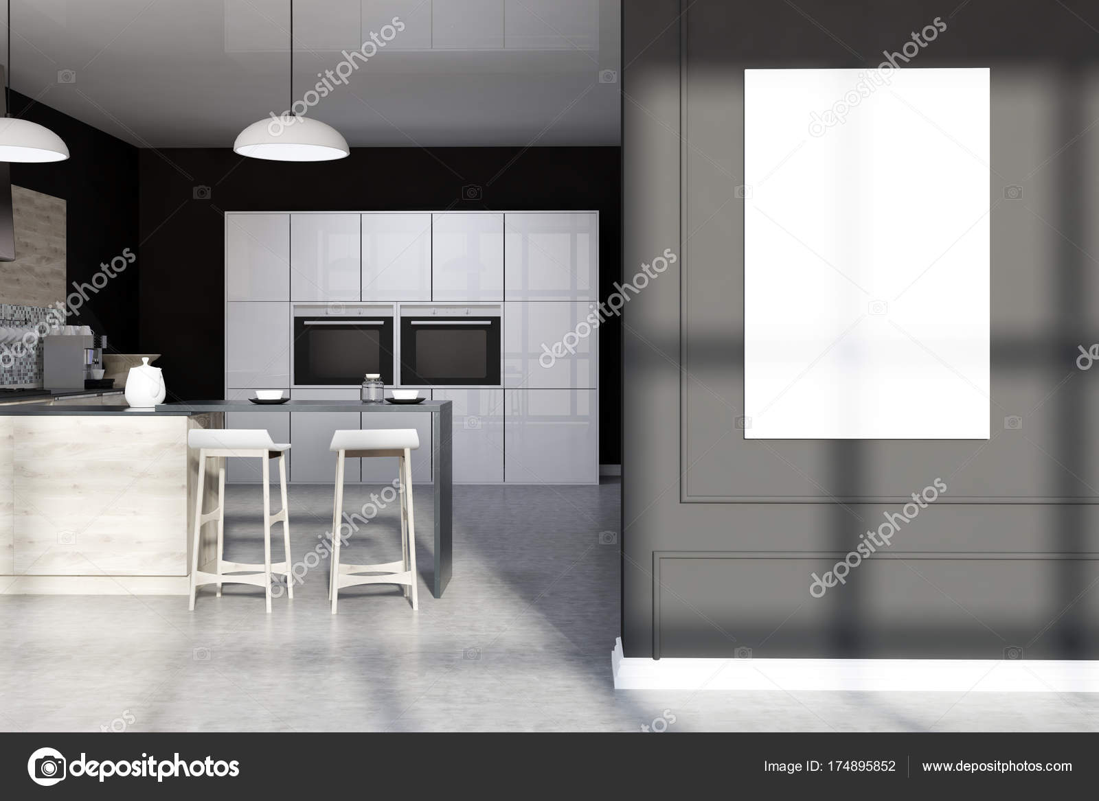 Mozaika Czarna Kuchnia Bar Plakat Zdjęcie Stockowe