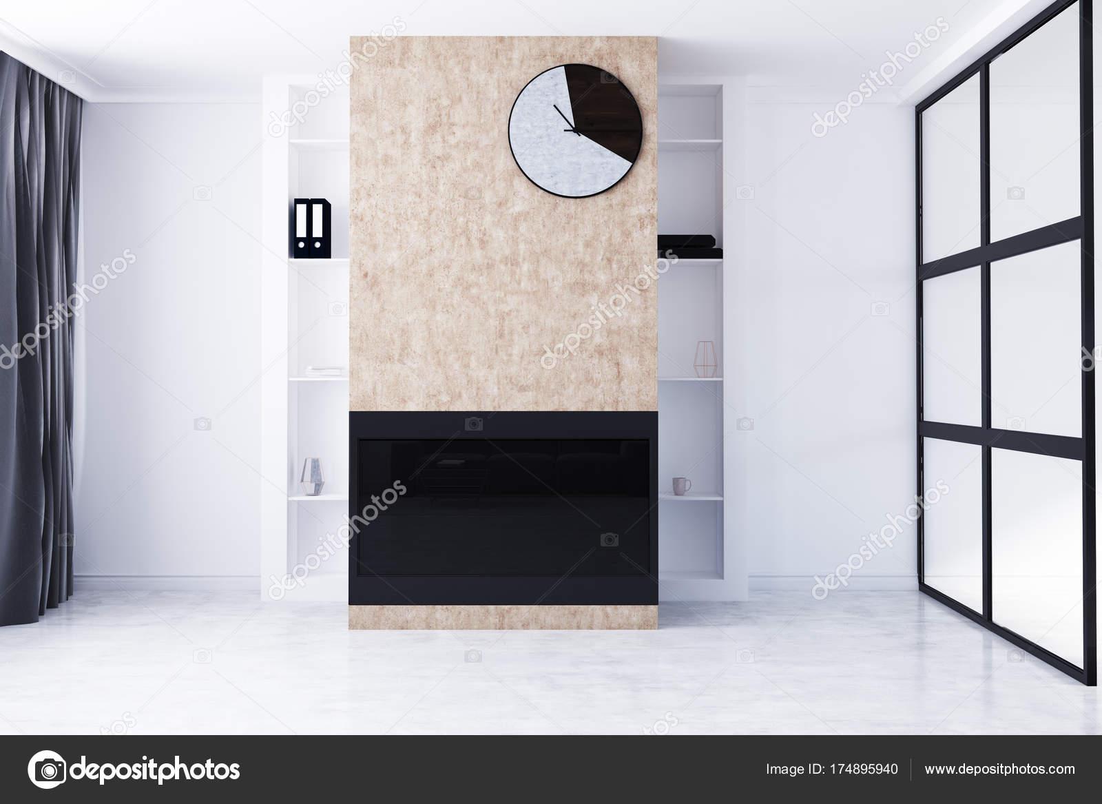 Wit woonkamer met open haard en klok — Stockfoto © denisismagilov ...