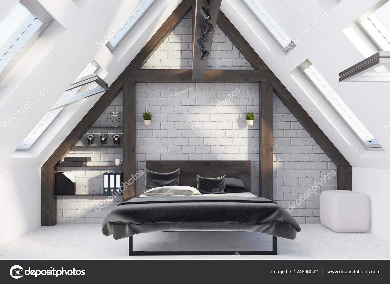 Dachgeschoss Schlafzimmer Interieur Stockfoto C Denisismagilov