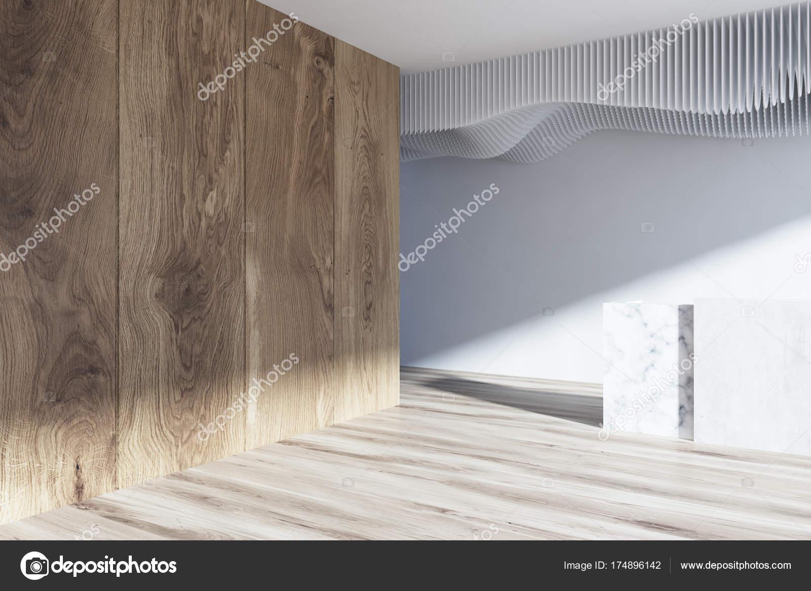 Ufficio Bianco E Legno : Lato di sala di ricevimento bianco e legno primi piani u foto