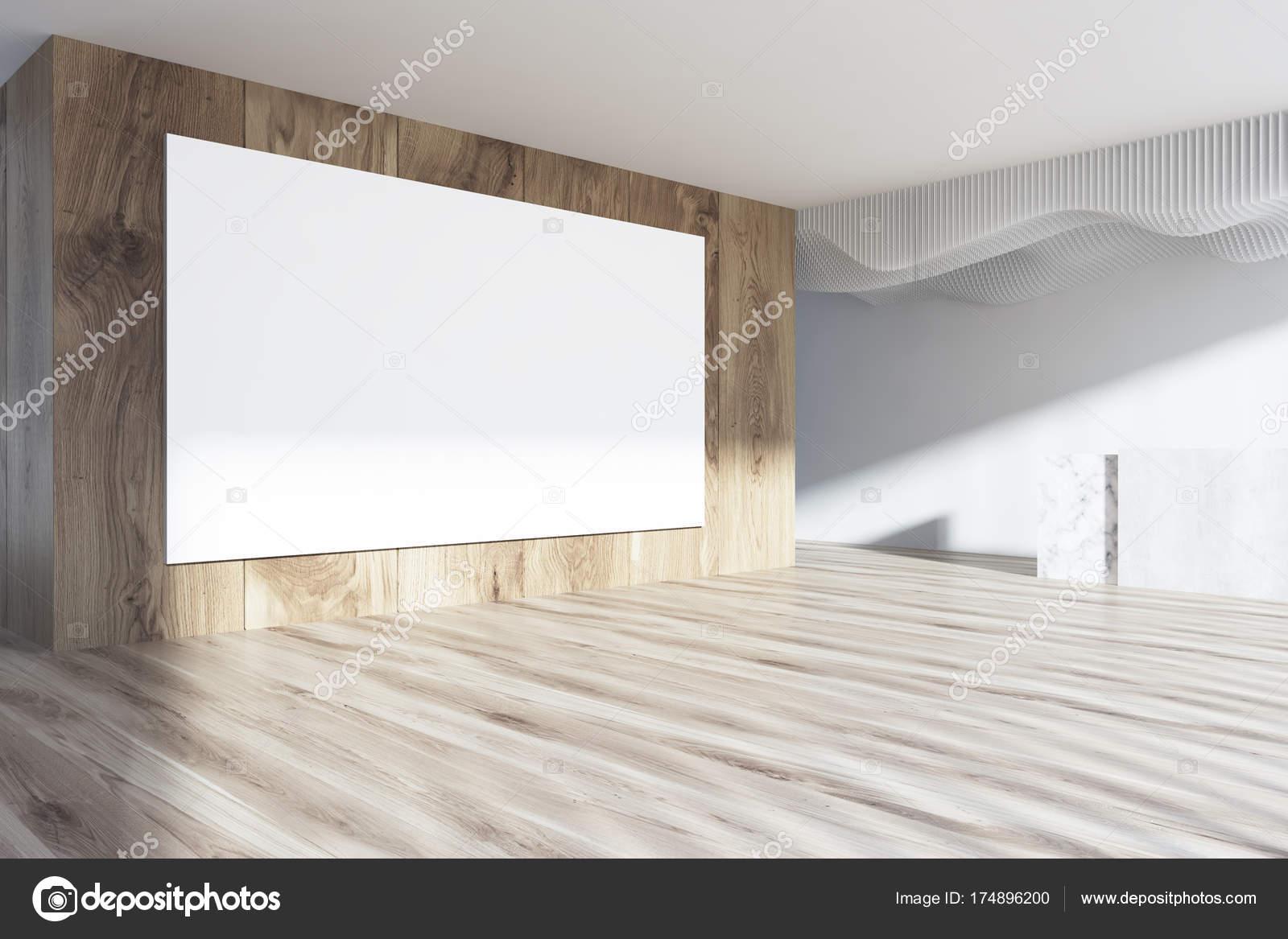 Ufficio Bianco E Legno : Poster di lato sala ricevimento bianco e legno u foto stock