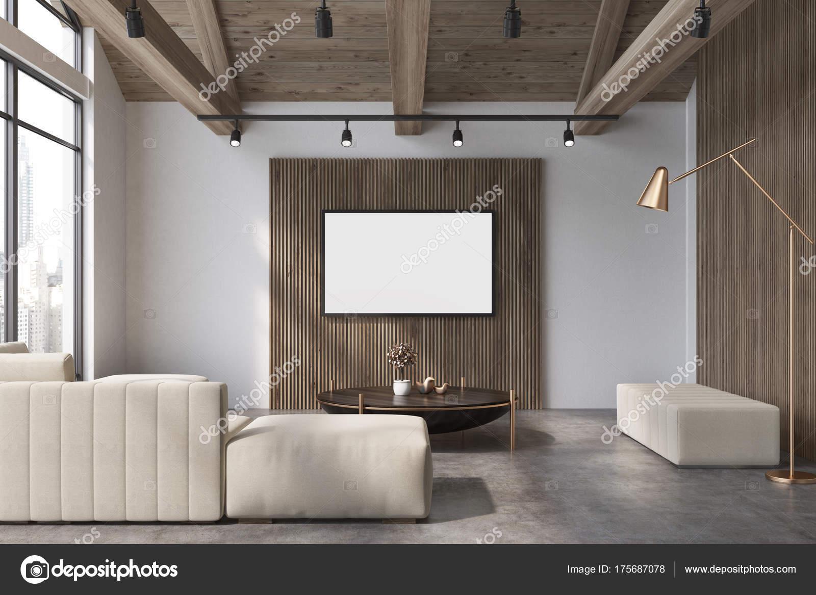 Weiß und Holz Wohnzimmer, weißes Sofa poster — Stockfoto ...