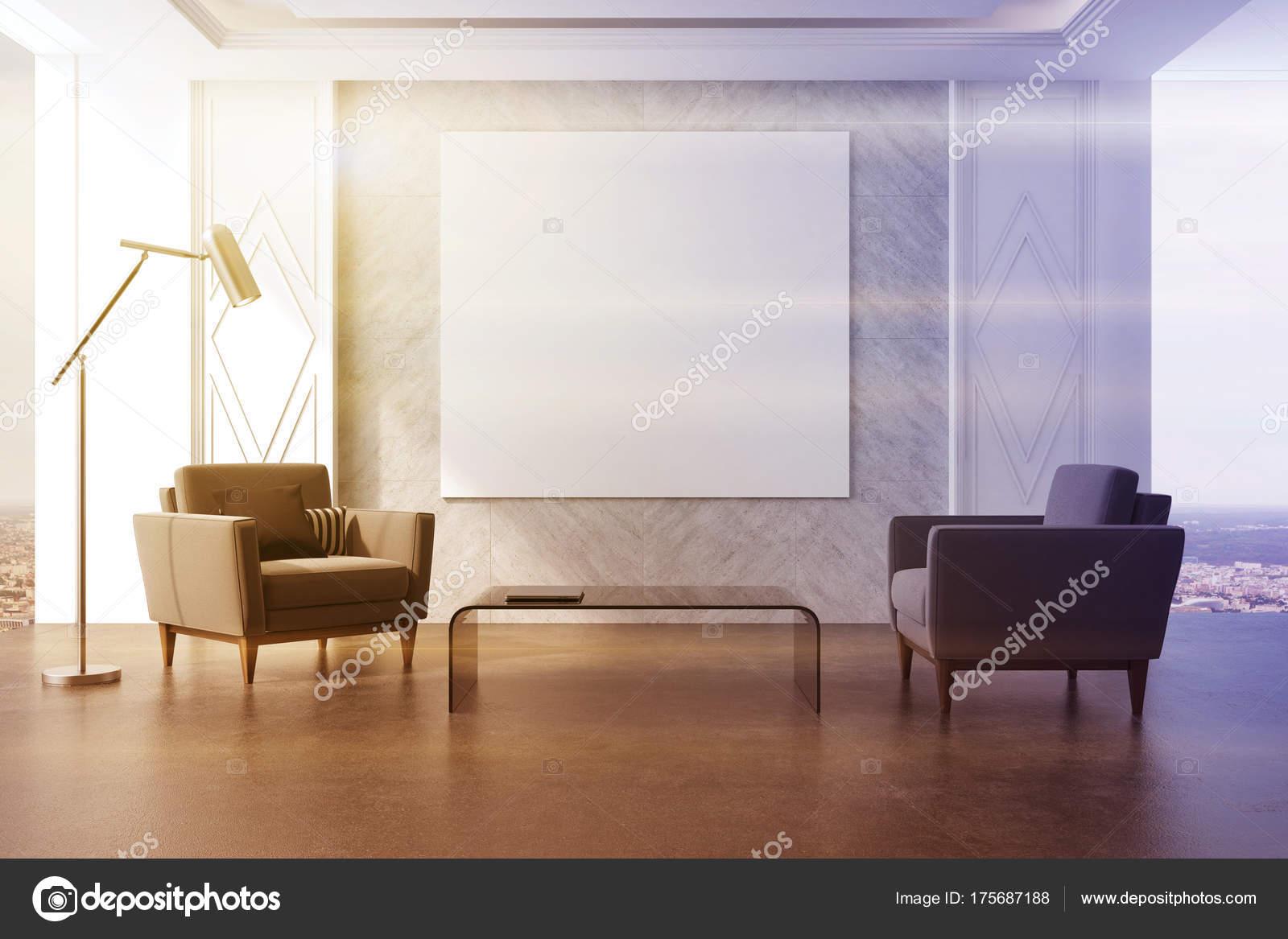 Getönten grauen wohnzimmer poster und sessel u2014 stockfoto