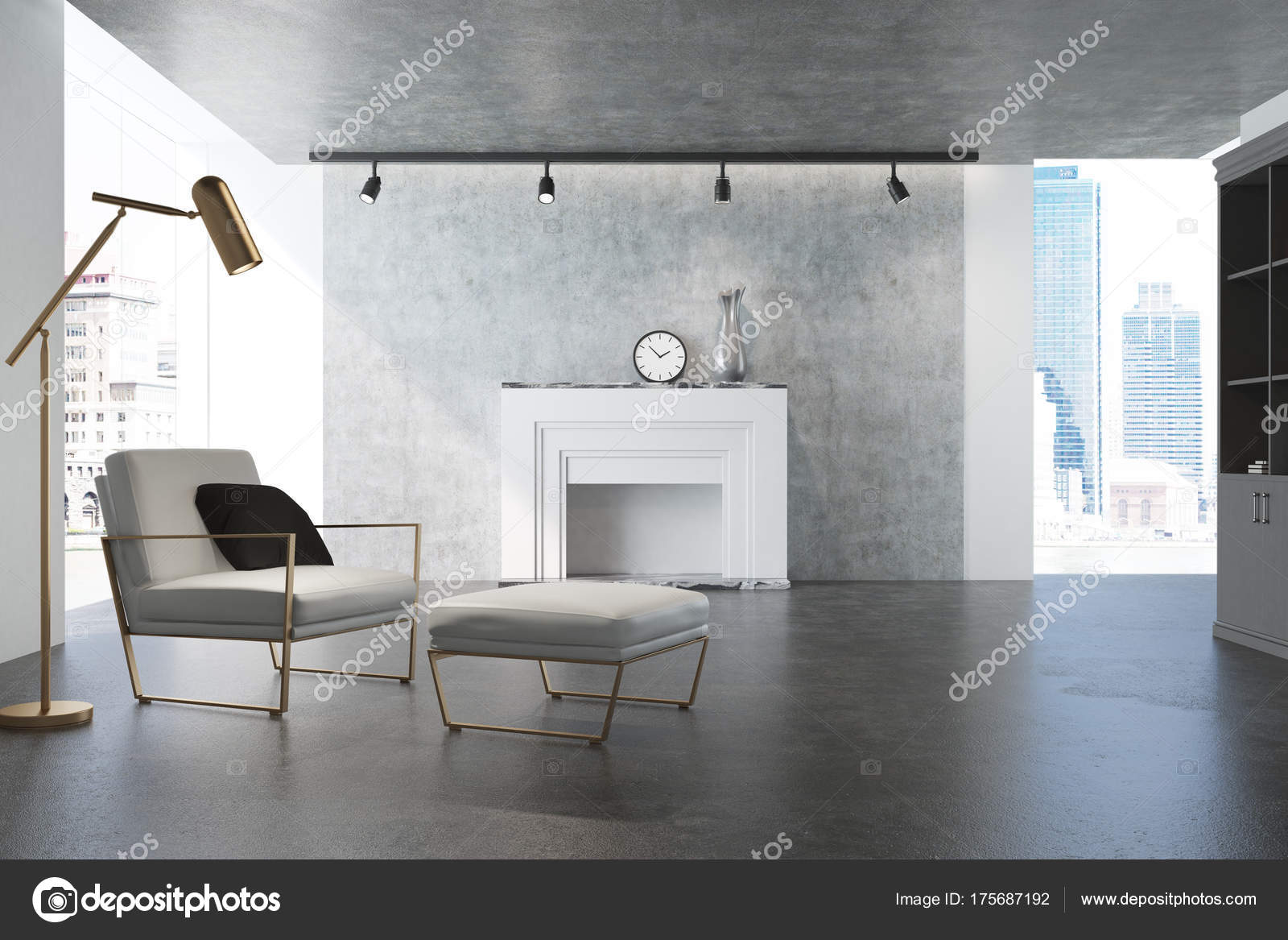 Graue Wohnzimmer Weiße Sessel Kamin Stockfoto Denisismagilov