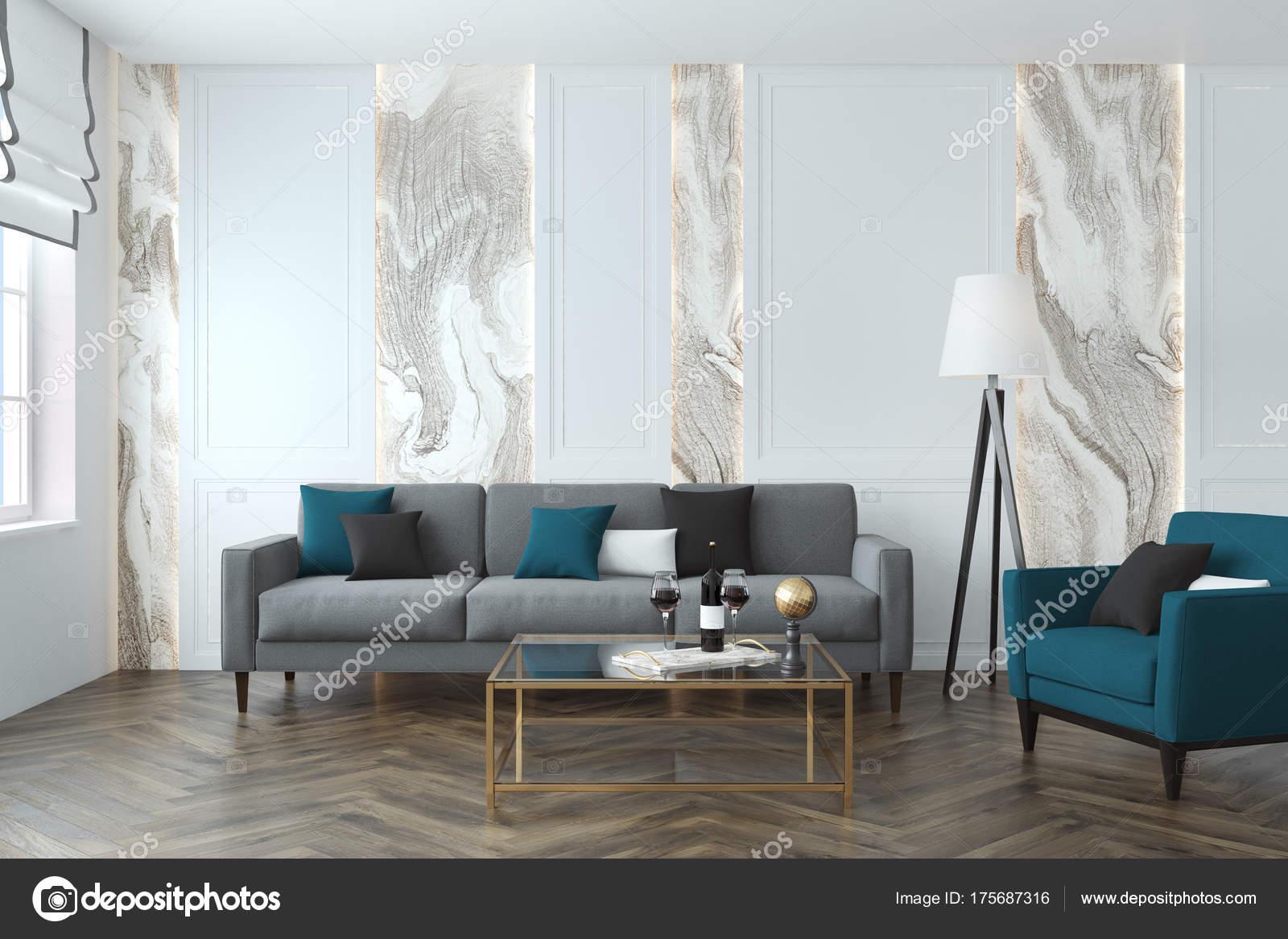 Branca E Cinza De Sala De Estar Sof Azul Fotografias De Stock  -> Sala Com Sofa Cinza E Poltronas