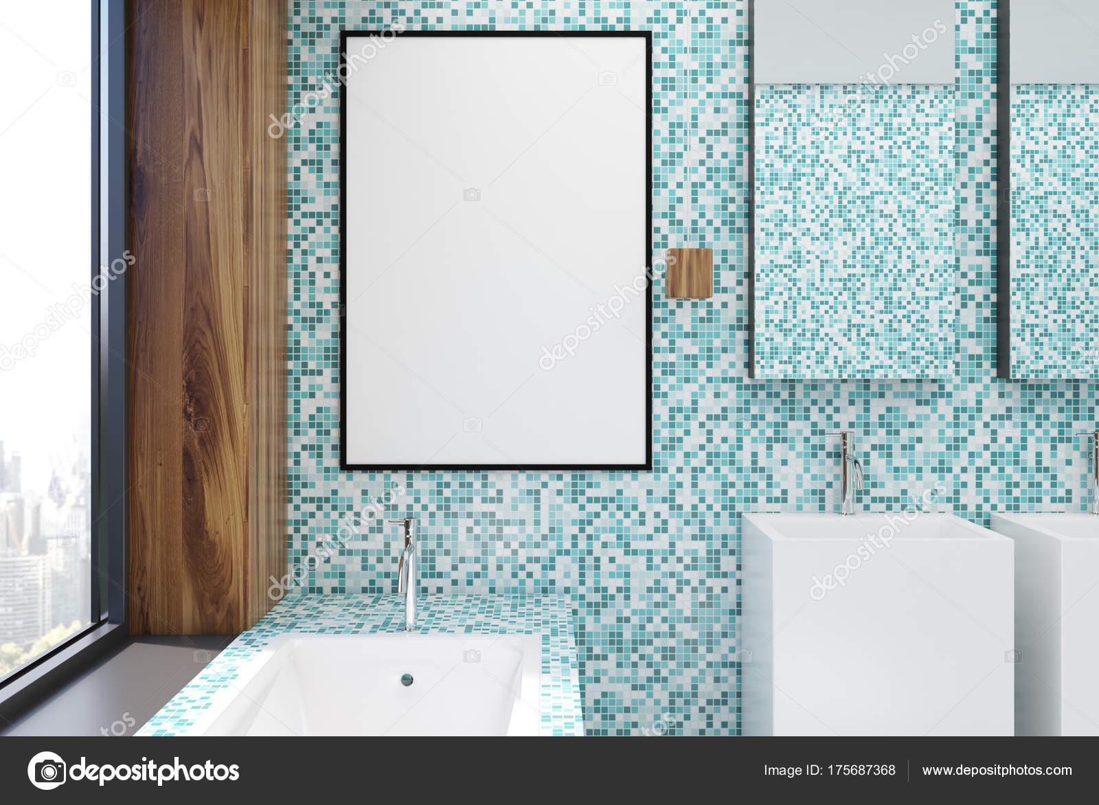 Blaue Fliesen Badezimmer Interieur, Plakat — Stockfoto ...
