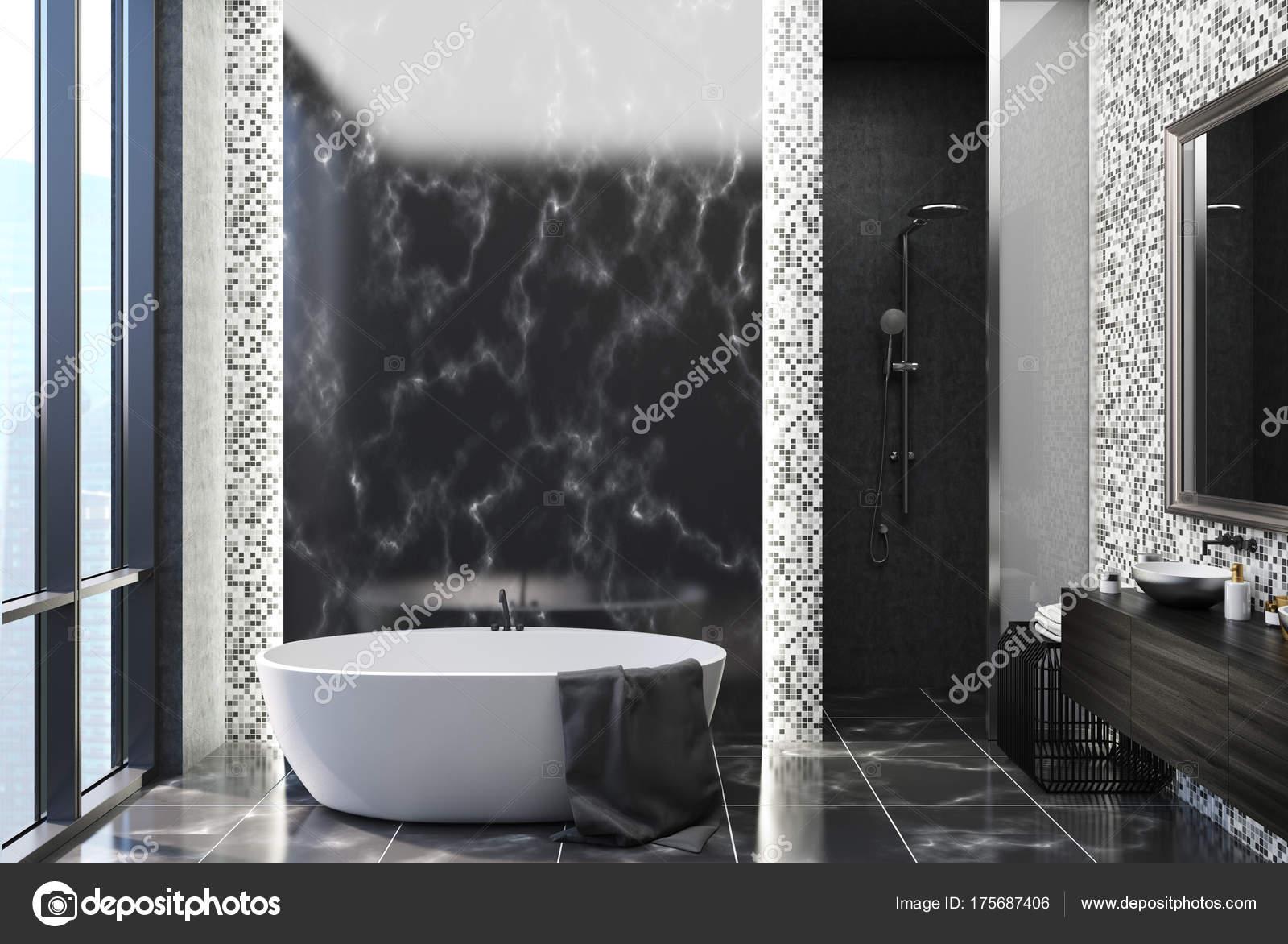 Salle De Bain Couloir Wc ~ Salle De Bain En Marbre Et Carreaux Noir Photographie