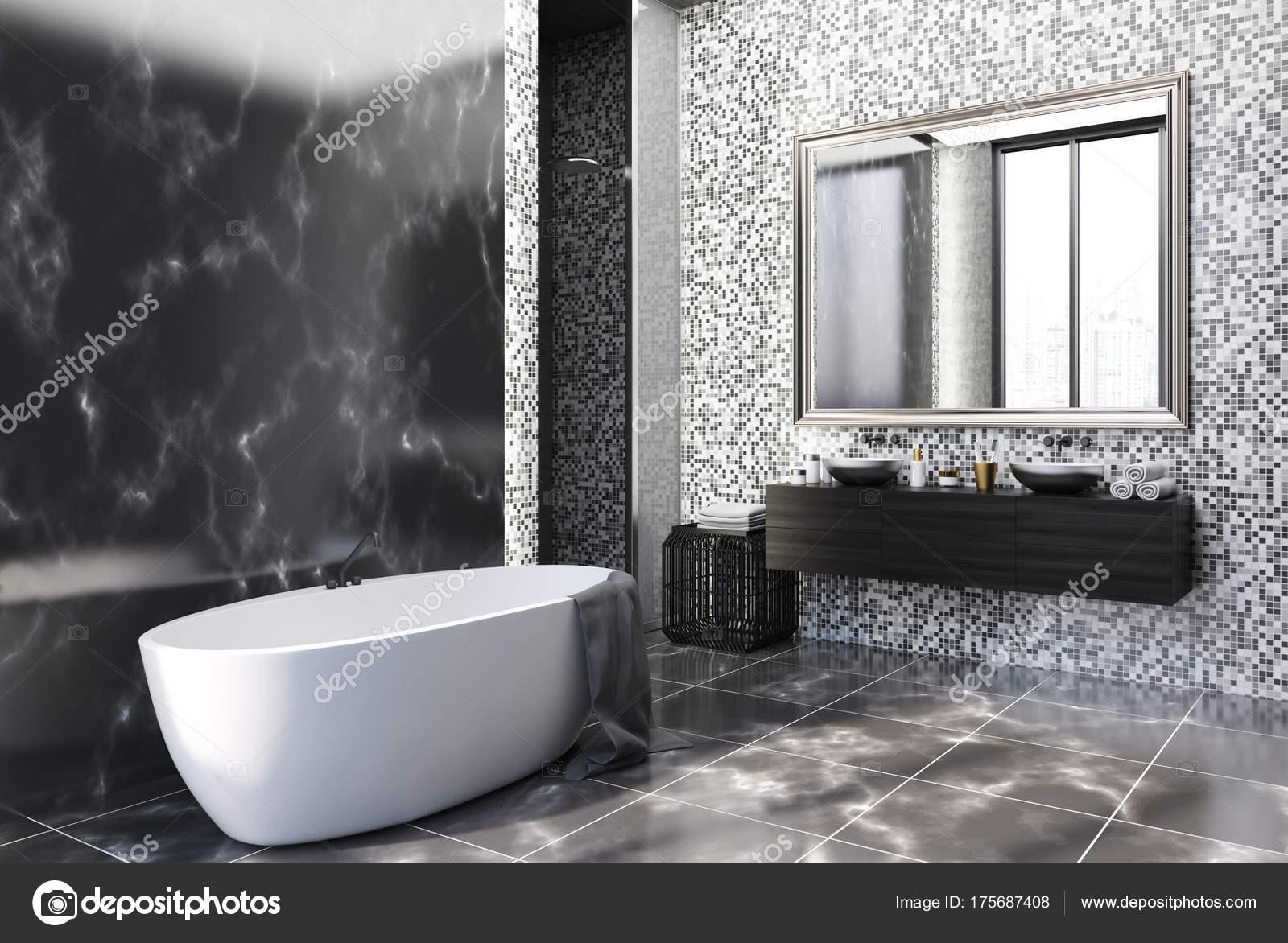 Bagni In Marmo Nero : Angolo di bagno di marmo e piastrelle nero u foto stock