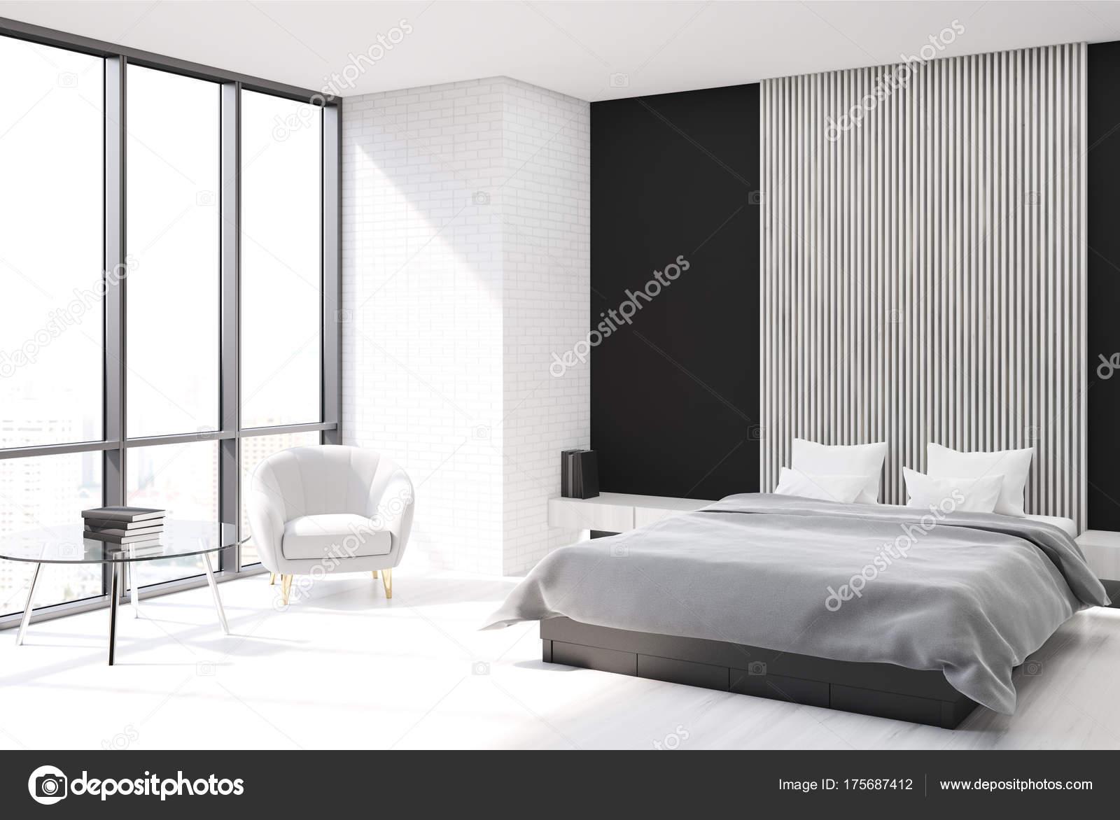 Weiss, schwarz und aus Holz Schlafzimmer, Plakat-Seite — Stockfoto ...