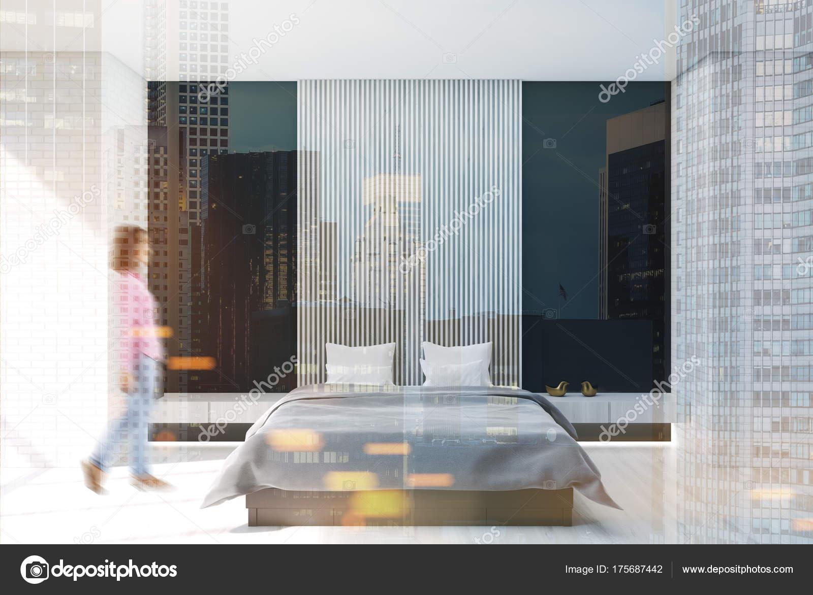 Slaapkamer Zwarte Vloer : Wit zwart en houten slaapkamer poster toned u stockfoto