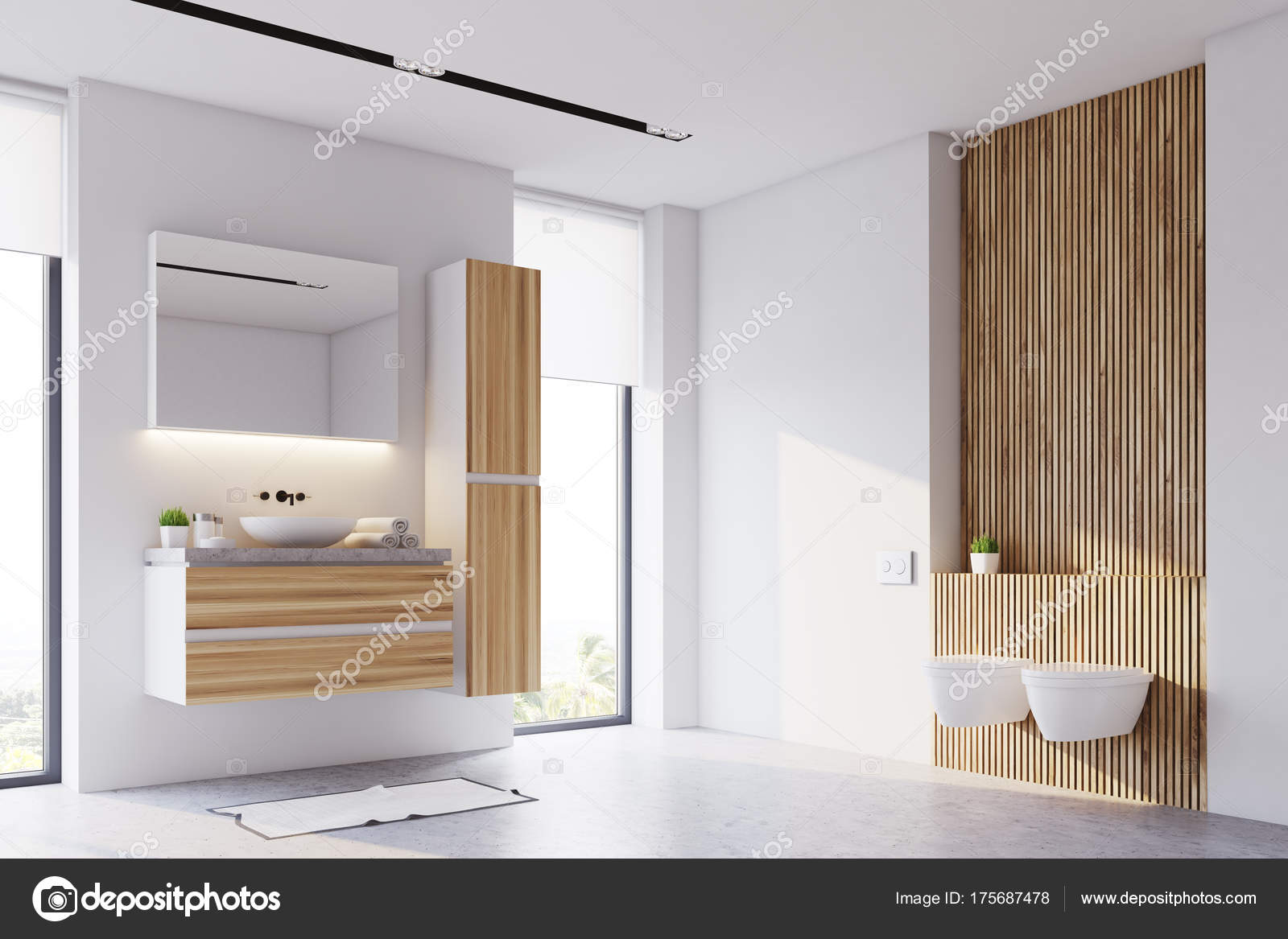 Binnenkant van de witte en houten badkamer u stockfoto