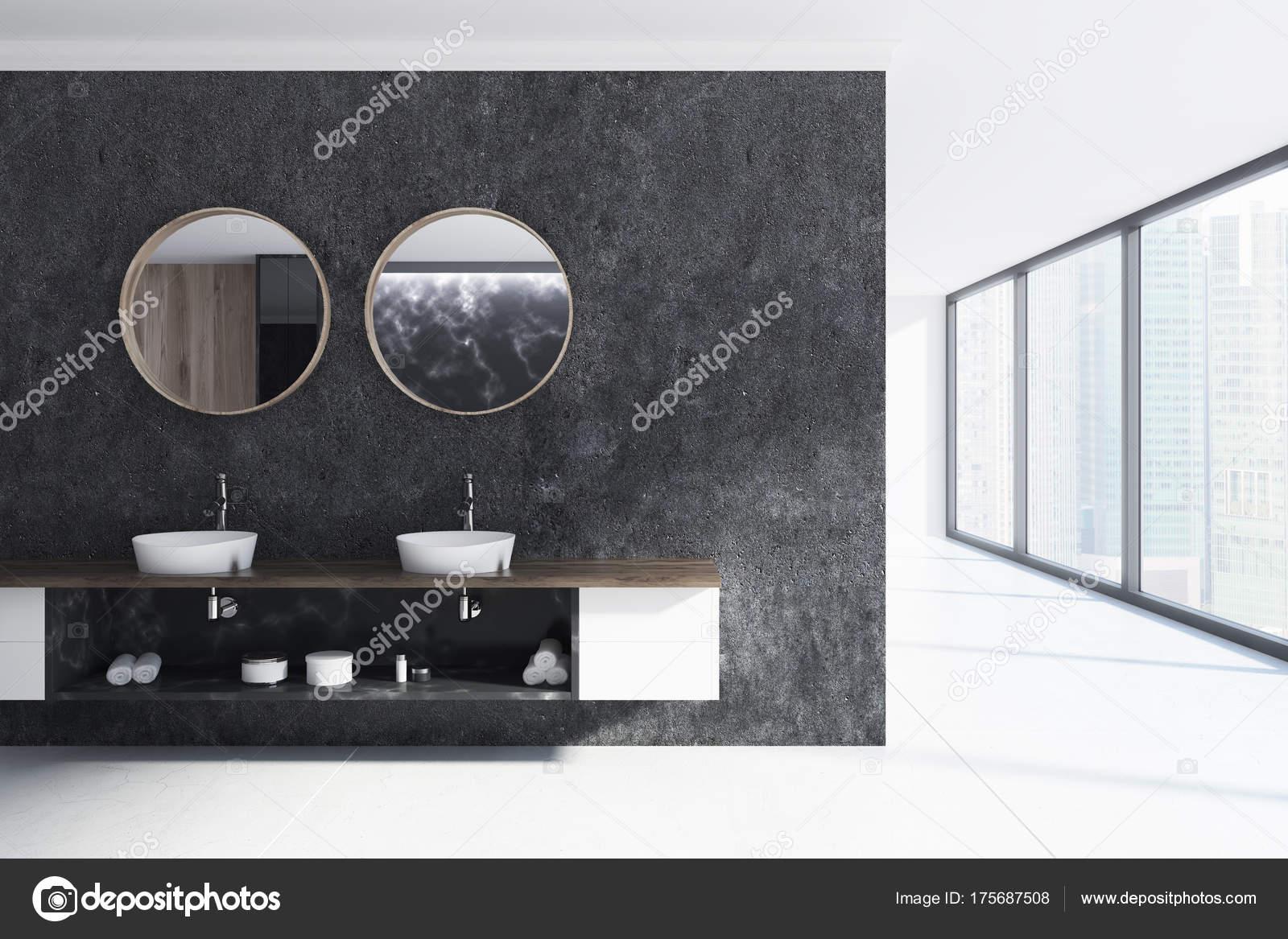 Schwarz / Weiß Bad, Doppelwaschbecken U2014 Stockfoto