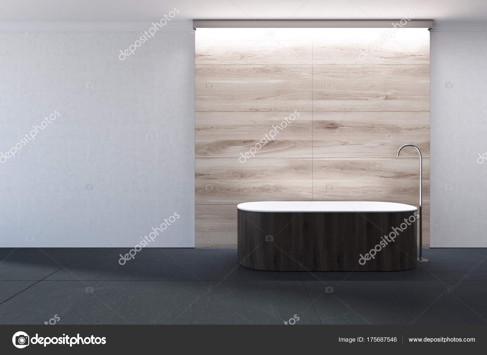 Weiß Und Holz Bad, Dunkle Badewanne U2014 Stockfoto