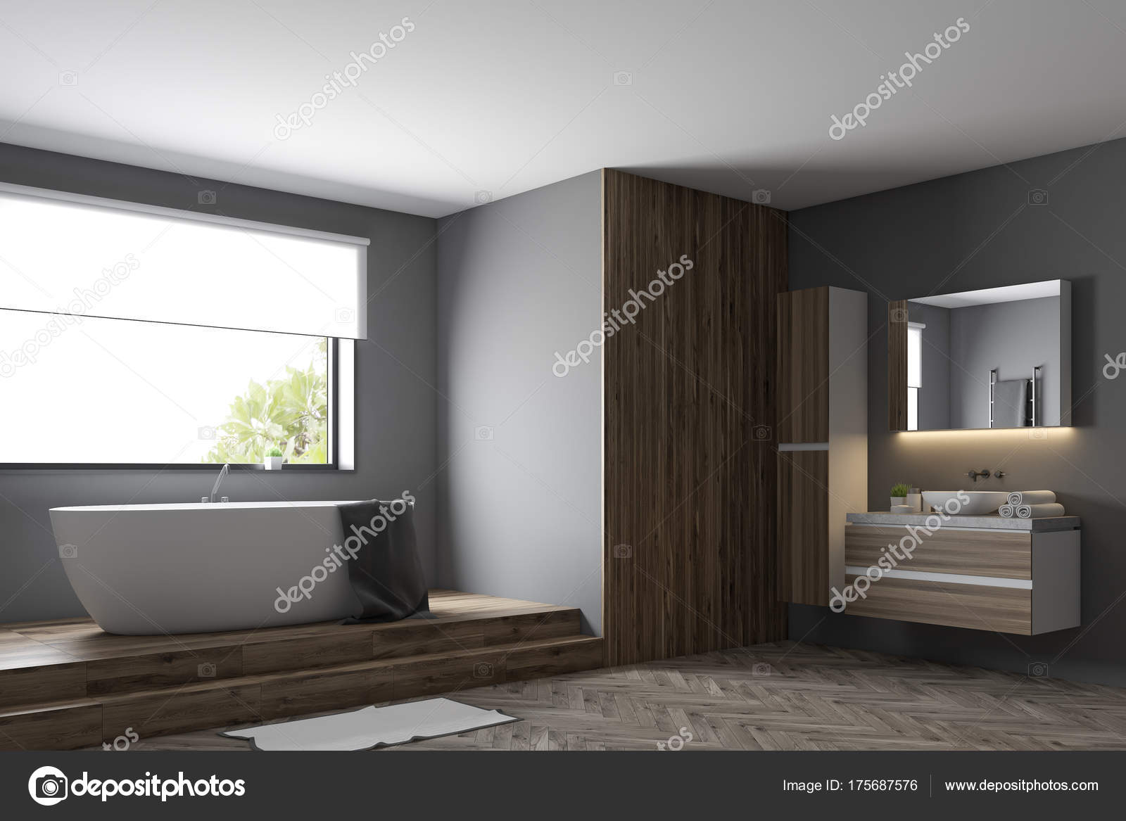 Modernes grau Bad Seite — Stockfoto © denisismagilov #175687576