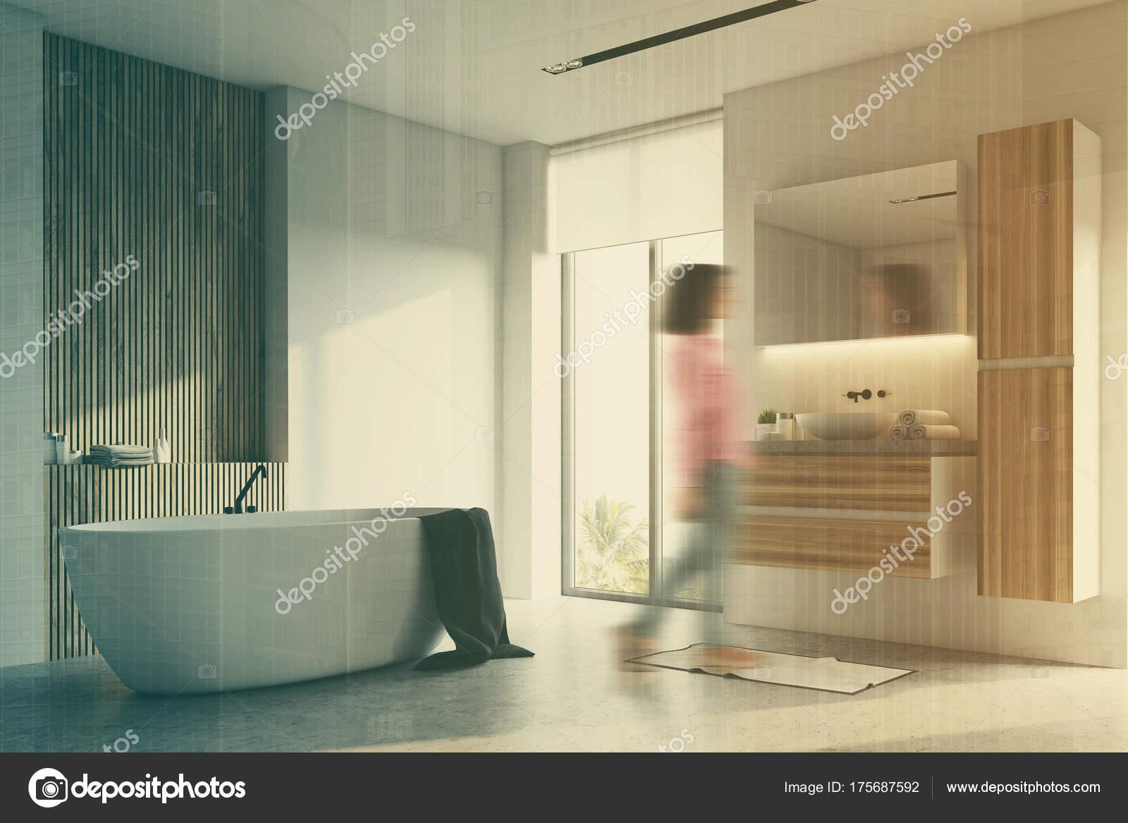 Zwart en houten badkamer hoek wazig — Stockfoto © denisismagilov ...