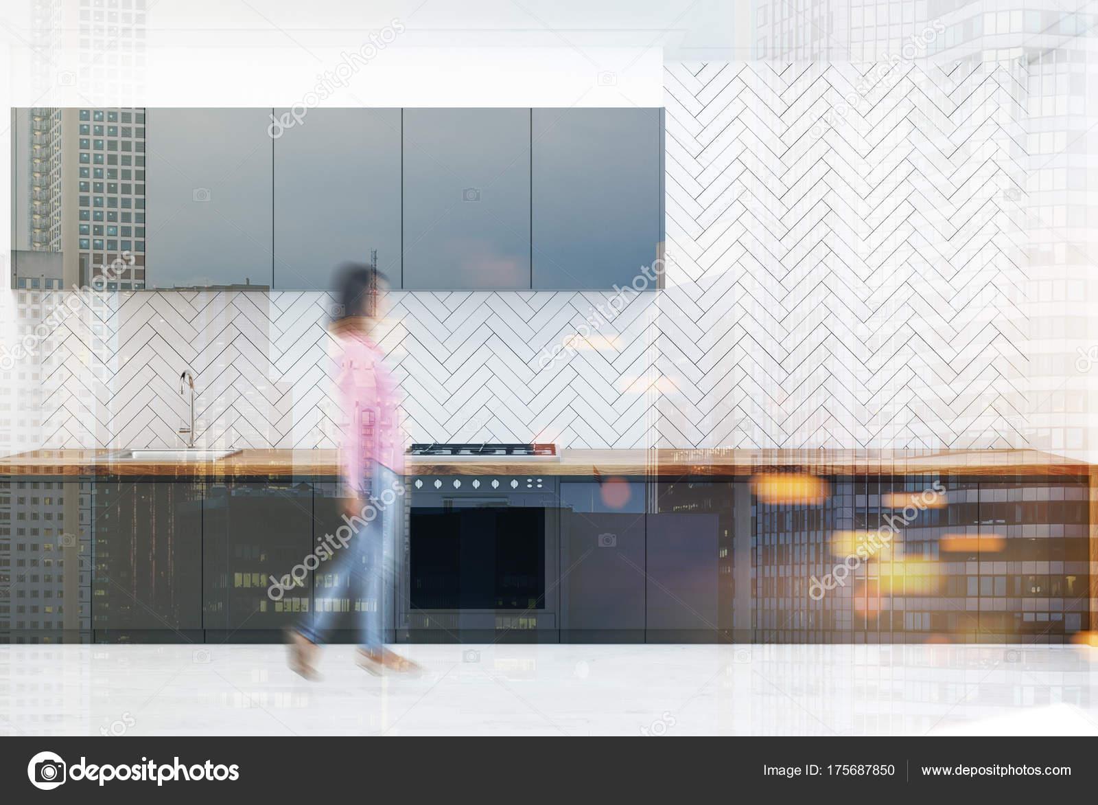 Weiße Holz Graue Küchenarbeitsplatten Verschwommen Stockfoto
