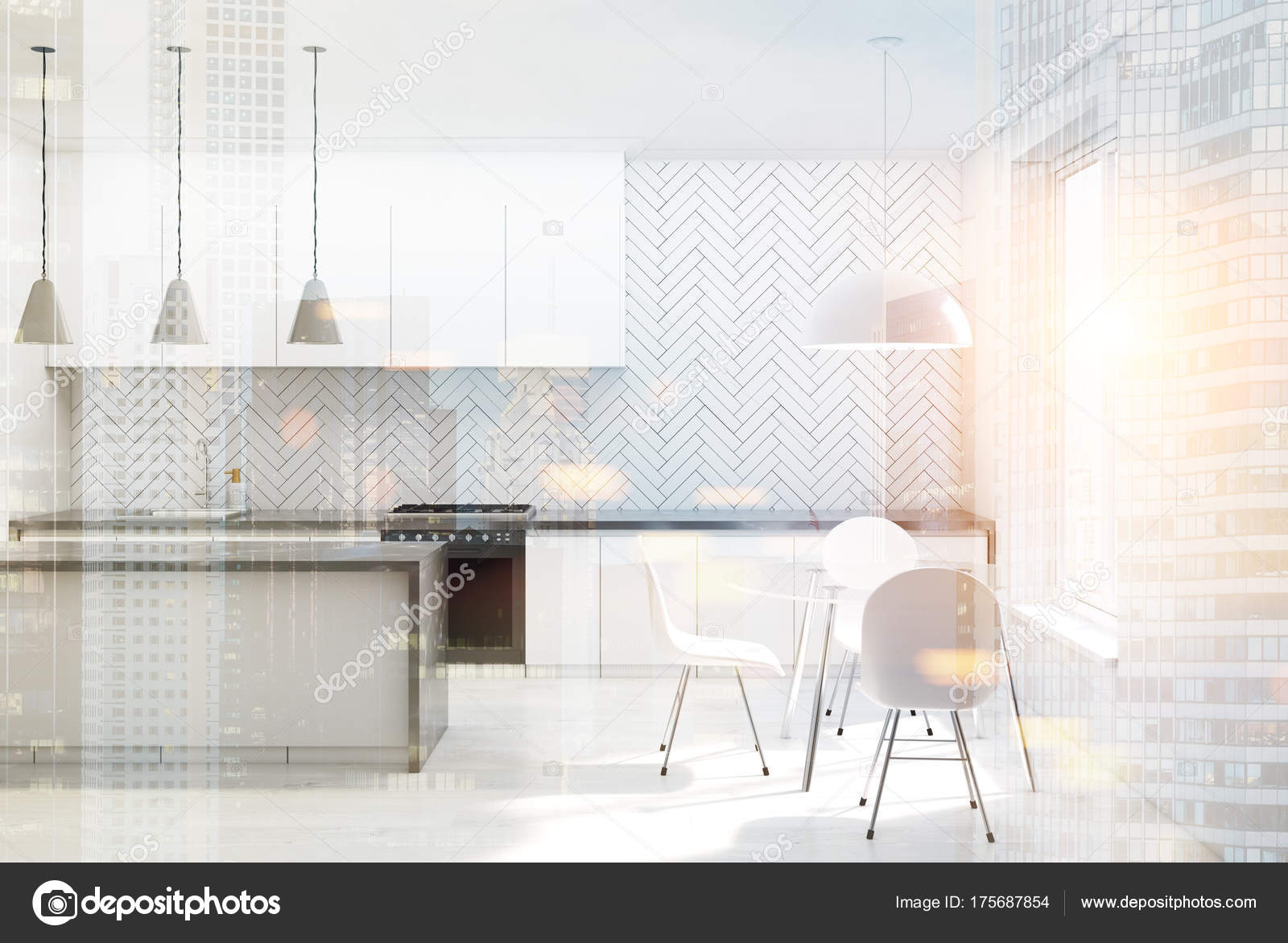 Sedie Da Cucina In Legno : Sedie da cucina in legno bianco bianco tonica u foto stock