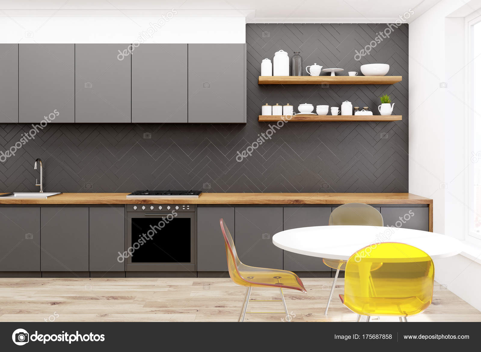 Sedie Da Cucina In Legno : Sedie da cucina in legno grigio giallo u foto stock