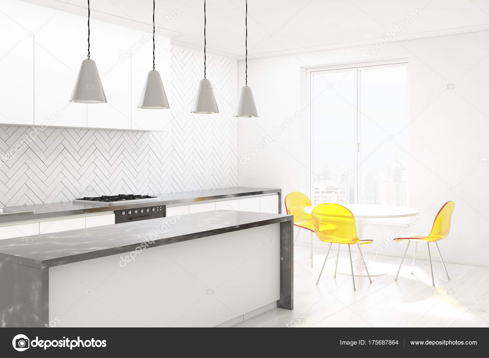 Sedie di legno bianco della cucina angolo giallo foto for Stock cucine