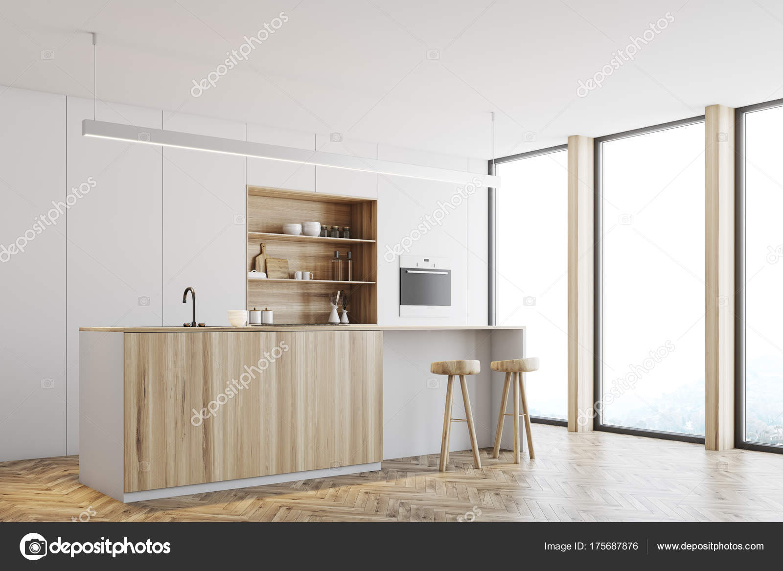 Keuken Houten Bar : Witte keuken houten bar staan kant u2014 stockfoto © denisismagilov
