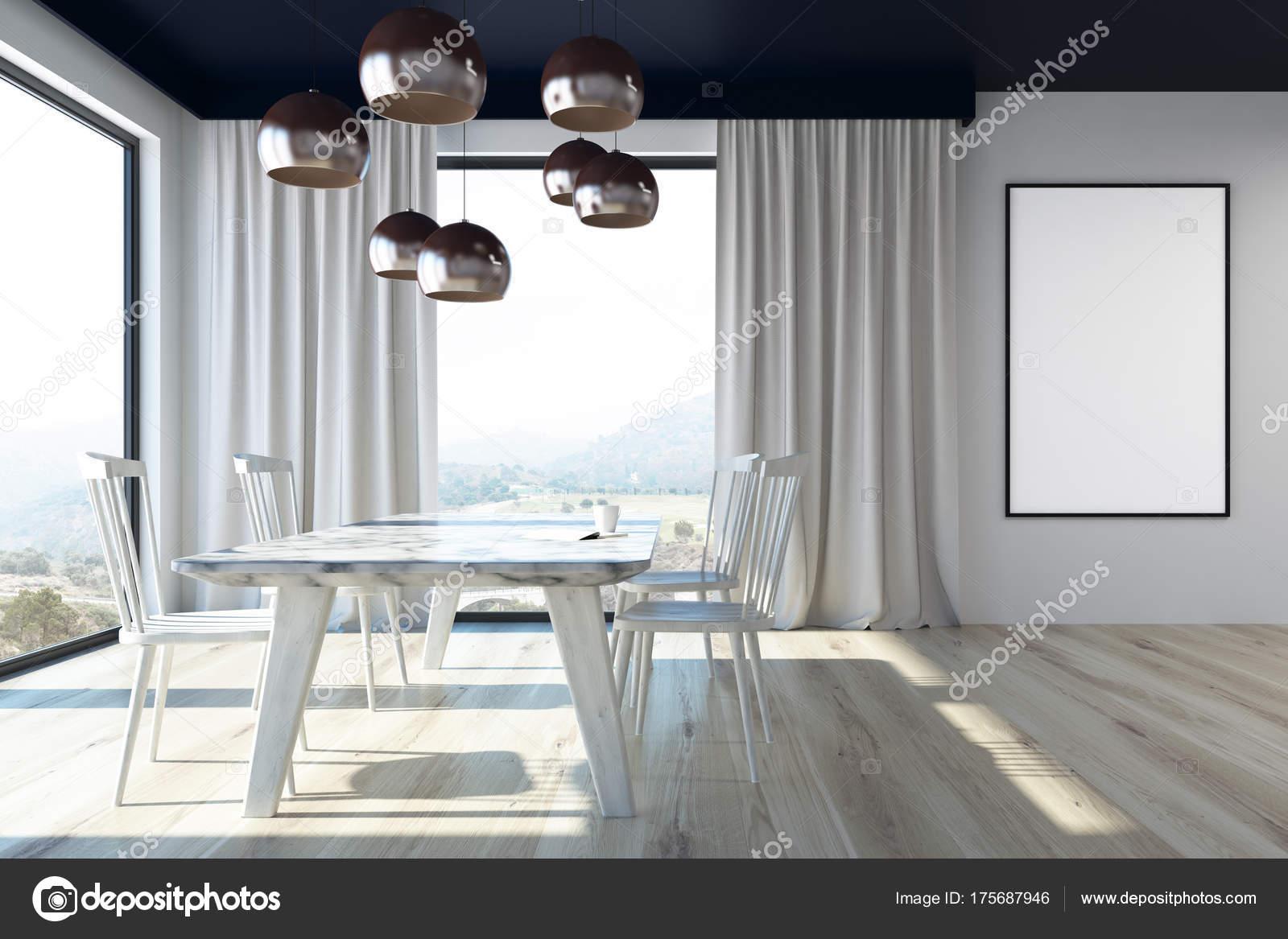 Grigio sala da pranzo con un tavolo di marmo poster u2014 foto stock