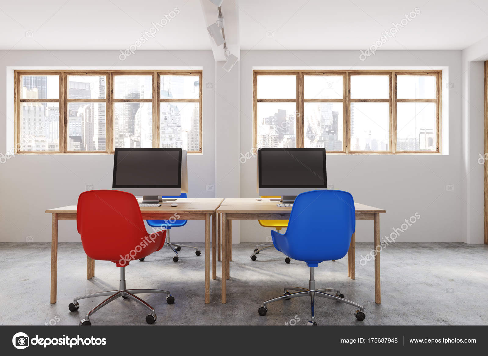 Fabulous Blue And Red Chairs Office Interior Stock Photo Pdpeps Interior Chair Design Pdpepsorg