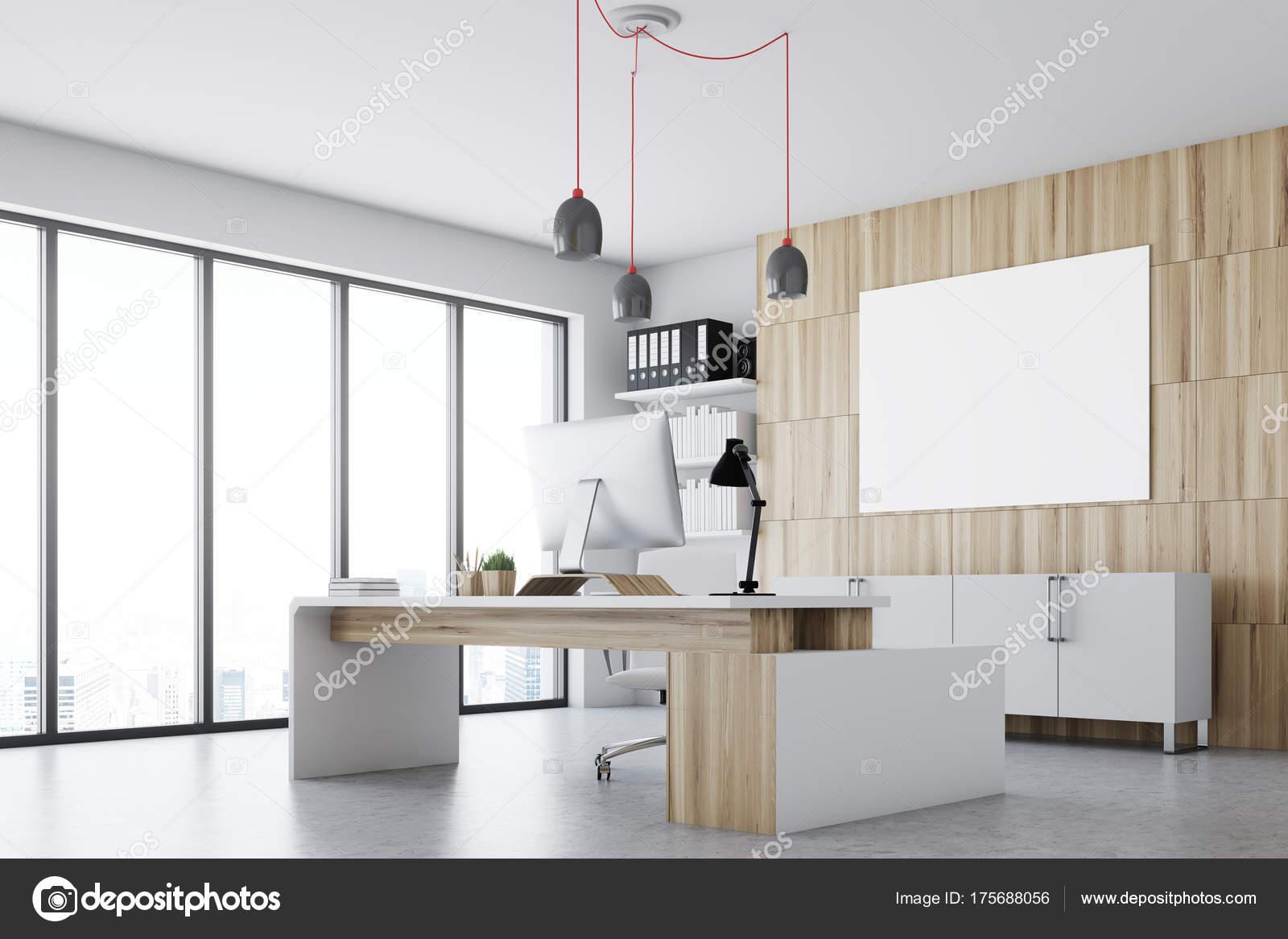 Ufficio Bianco E Legno : Angolo bianco e legno ceo office poster u foto stock