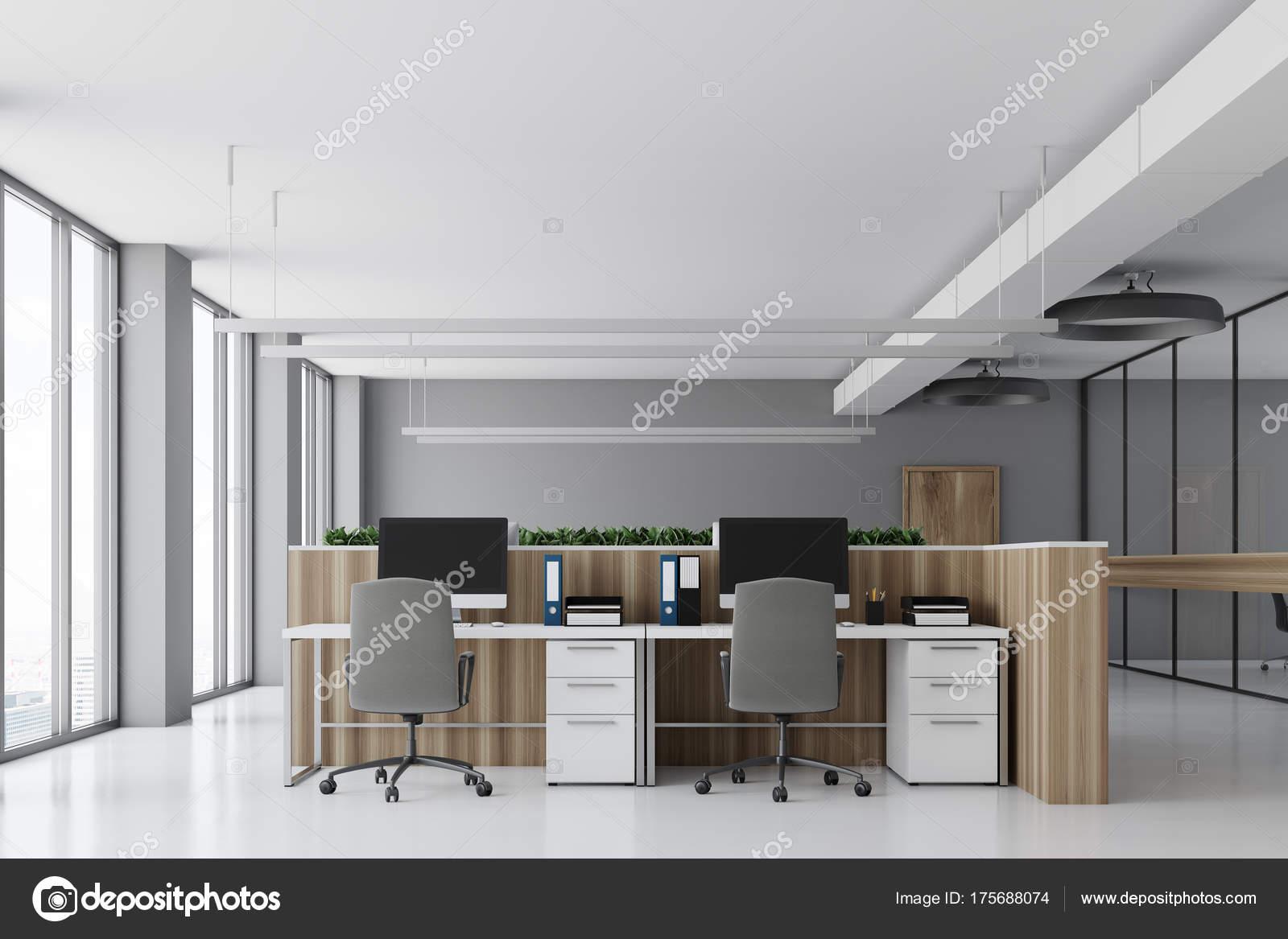 Ufficio Bianco E Legno : Bianco ufficio scrivanie in legno calcestruzzo u foto stock