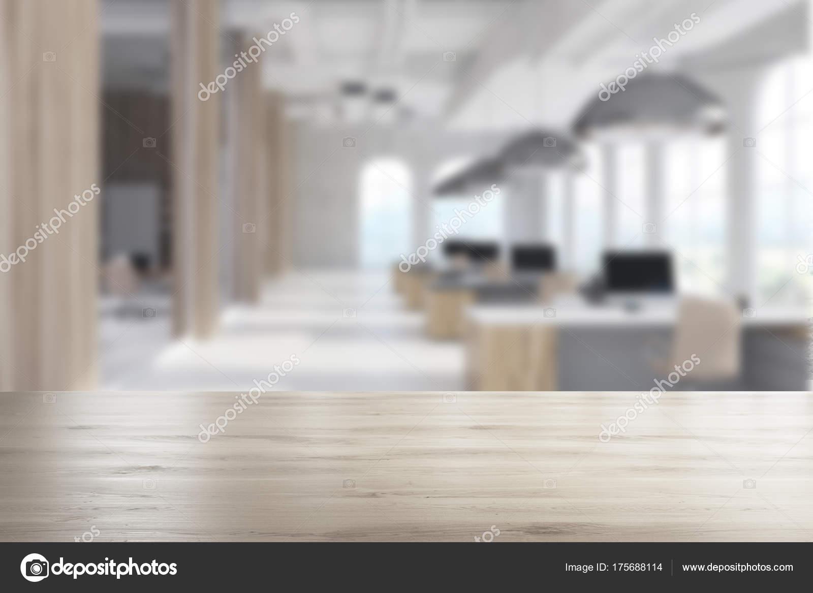 Bureau moderne blanc fenêtres arch bois flou u photographie