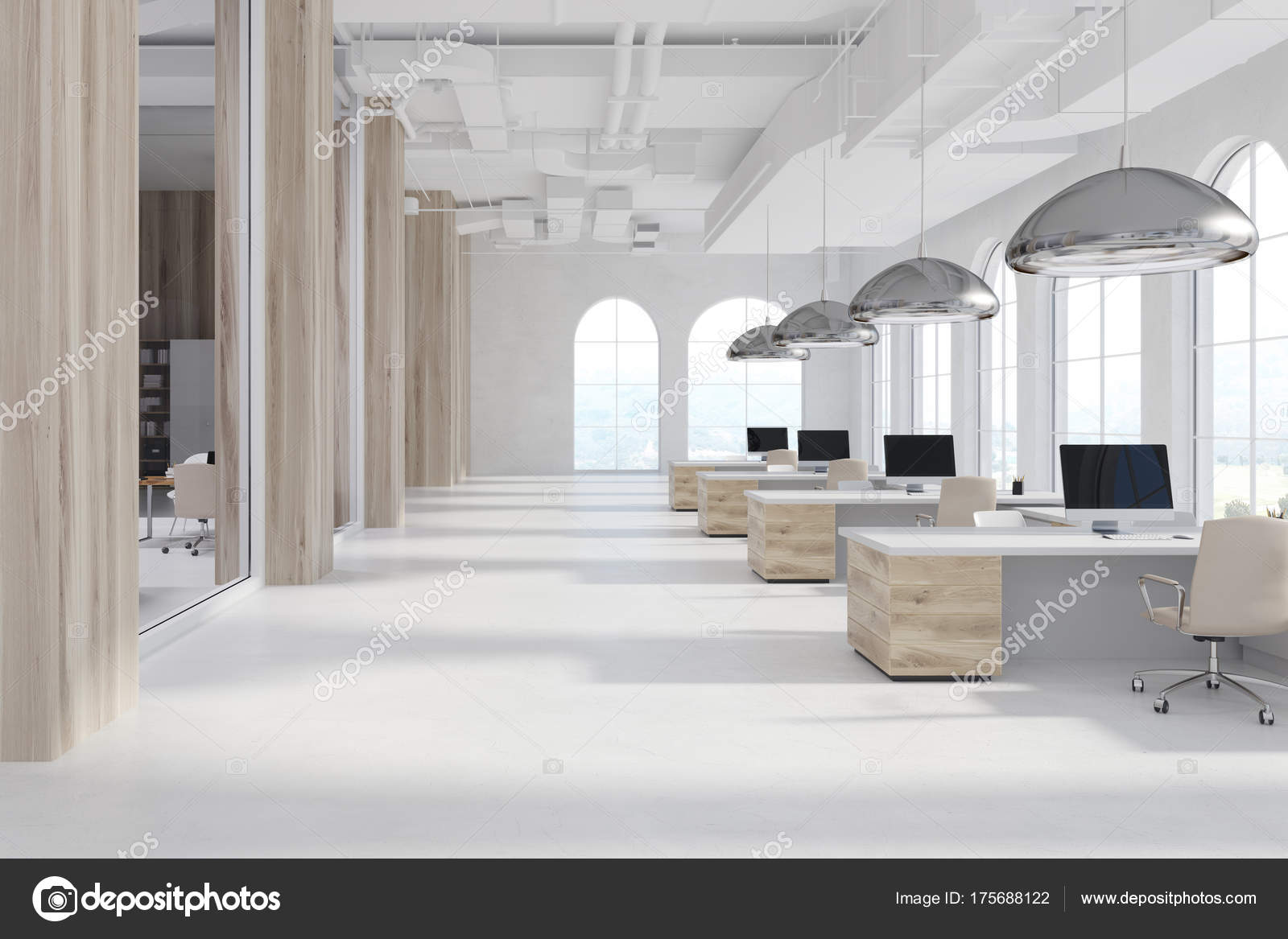 Blanc bureau moderne fenêtres bois en arc u photographie