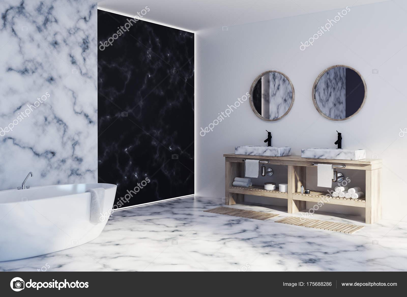 Angolo di bagno in marmo bianco e nero con un pavimento in marmo bianco,  vasca e lavandino doppio. rendering 3D mock up \u2014 Foto di denisismagilov
