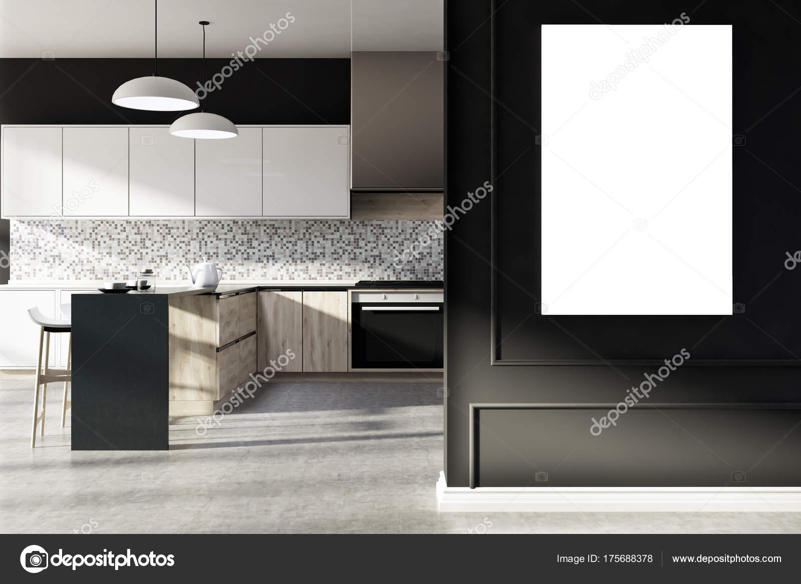 Mozaika Czarna Kuchnia Plakat Zdjęcie Stockowe